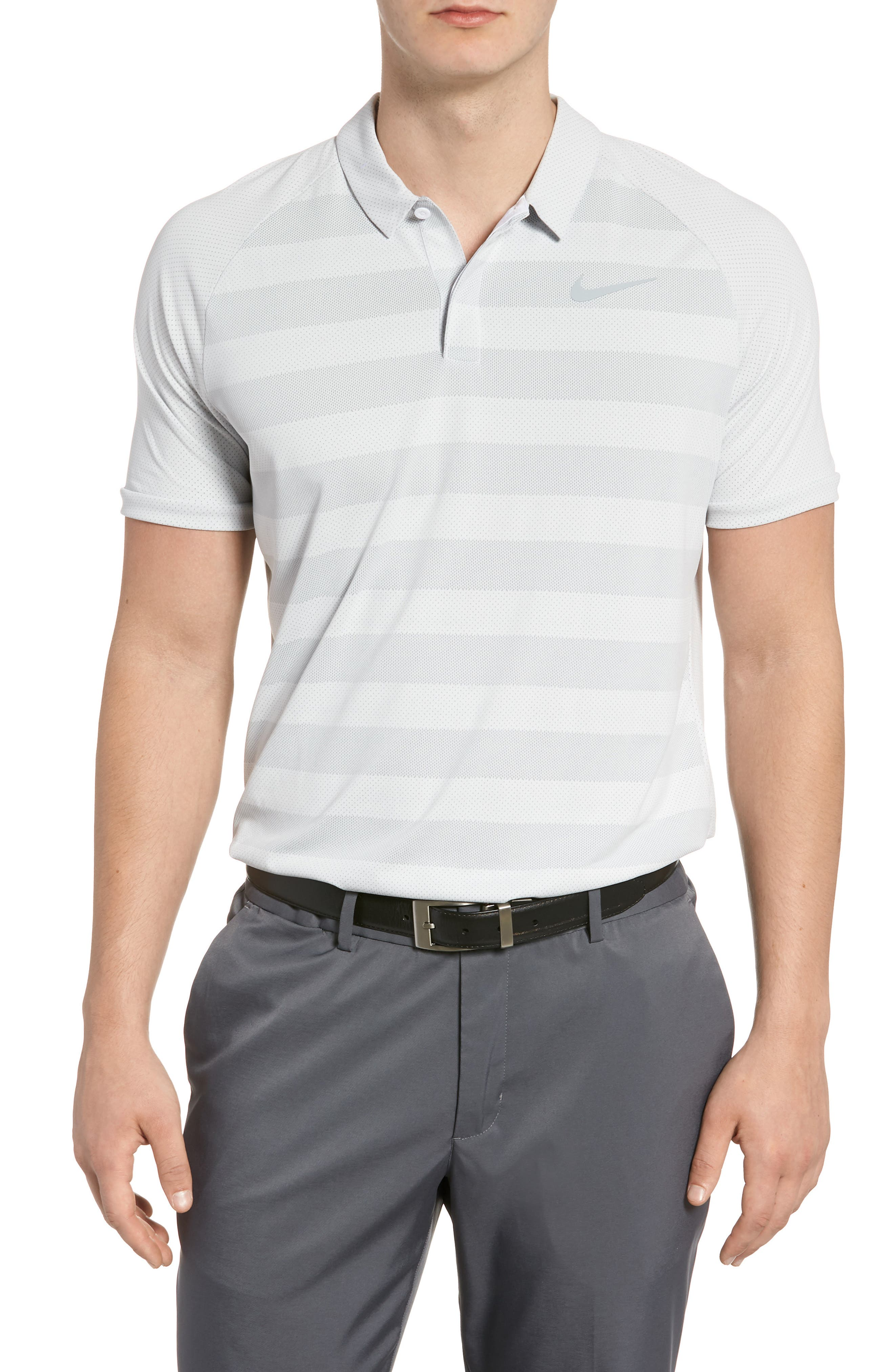 Stripe Polo Shirt,                             Main thumbnail 1, color,                             White/ Wolf Grey/ Silver