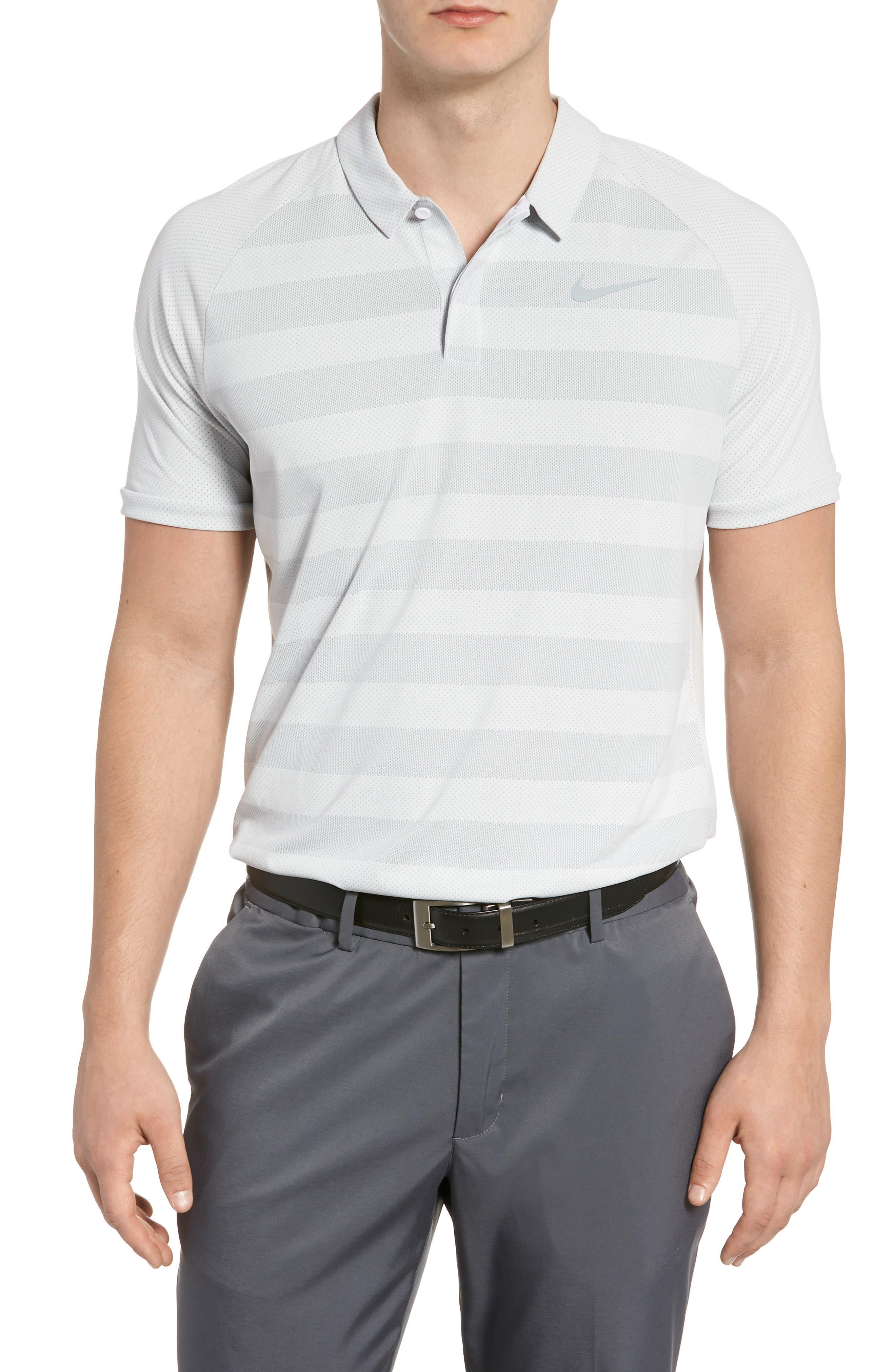 Stripe Polo Shirt,                         Main,                         color, White/ Wolf Grey/ Silver