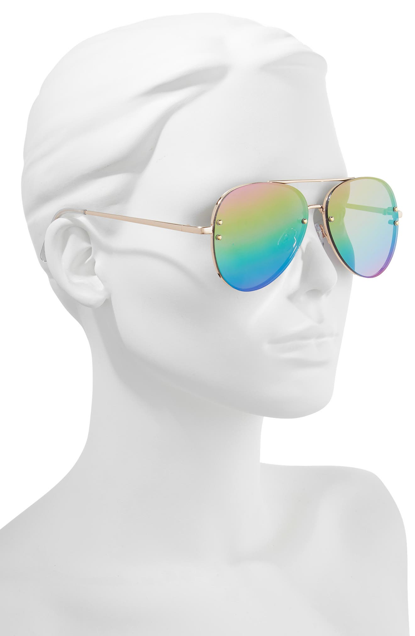 60mm Oversize Mirrored Aviator Sunglasses,                             Alternate thumbnail 2, color,                             Gold/Rainbow