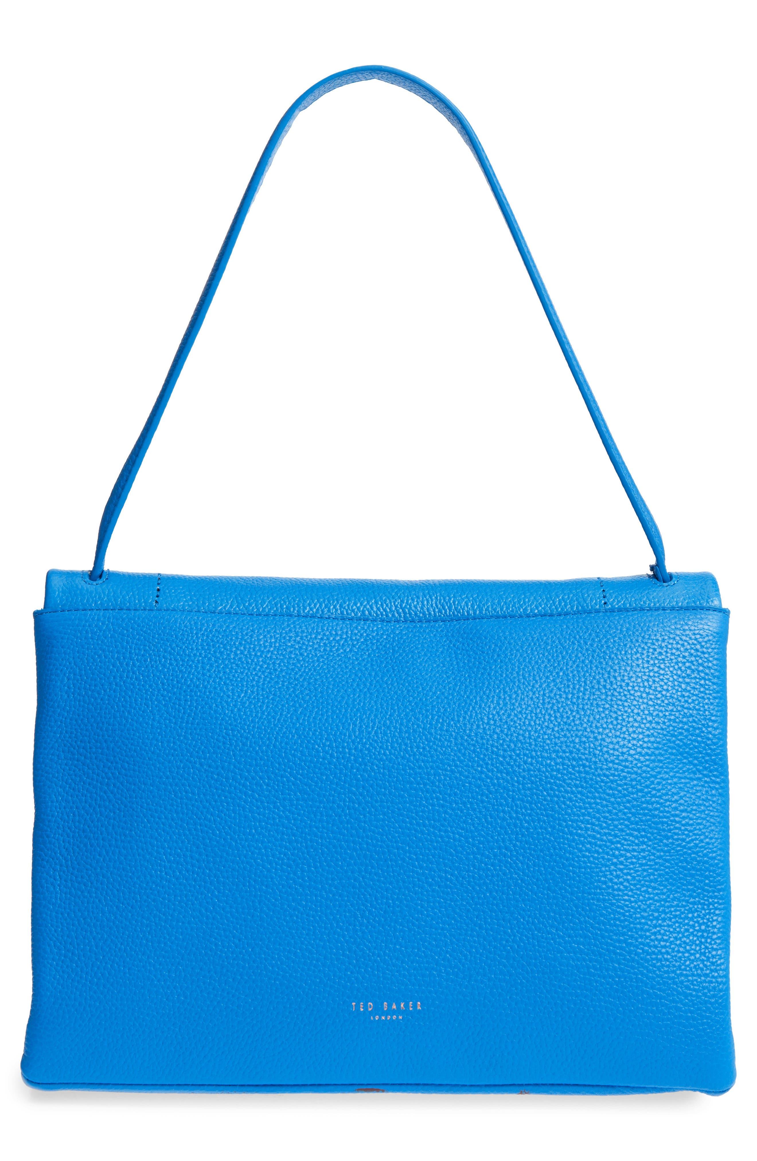 Heeidi Harmony Print Leather Shoulder Bag,                             Alternate thumbnail 3, color,                             Bright Blue