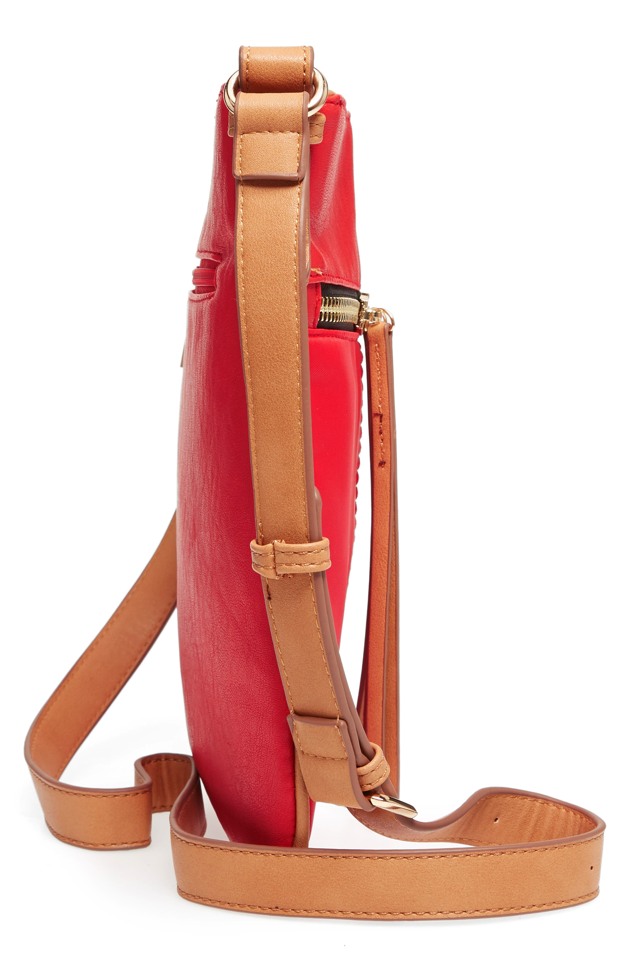 Nylon & Faux Leather Crossbody Bag,                             Alternate thumbnail 5, color,                             Red
