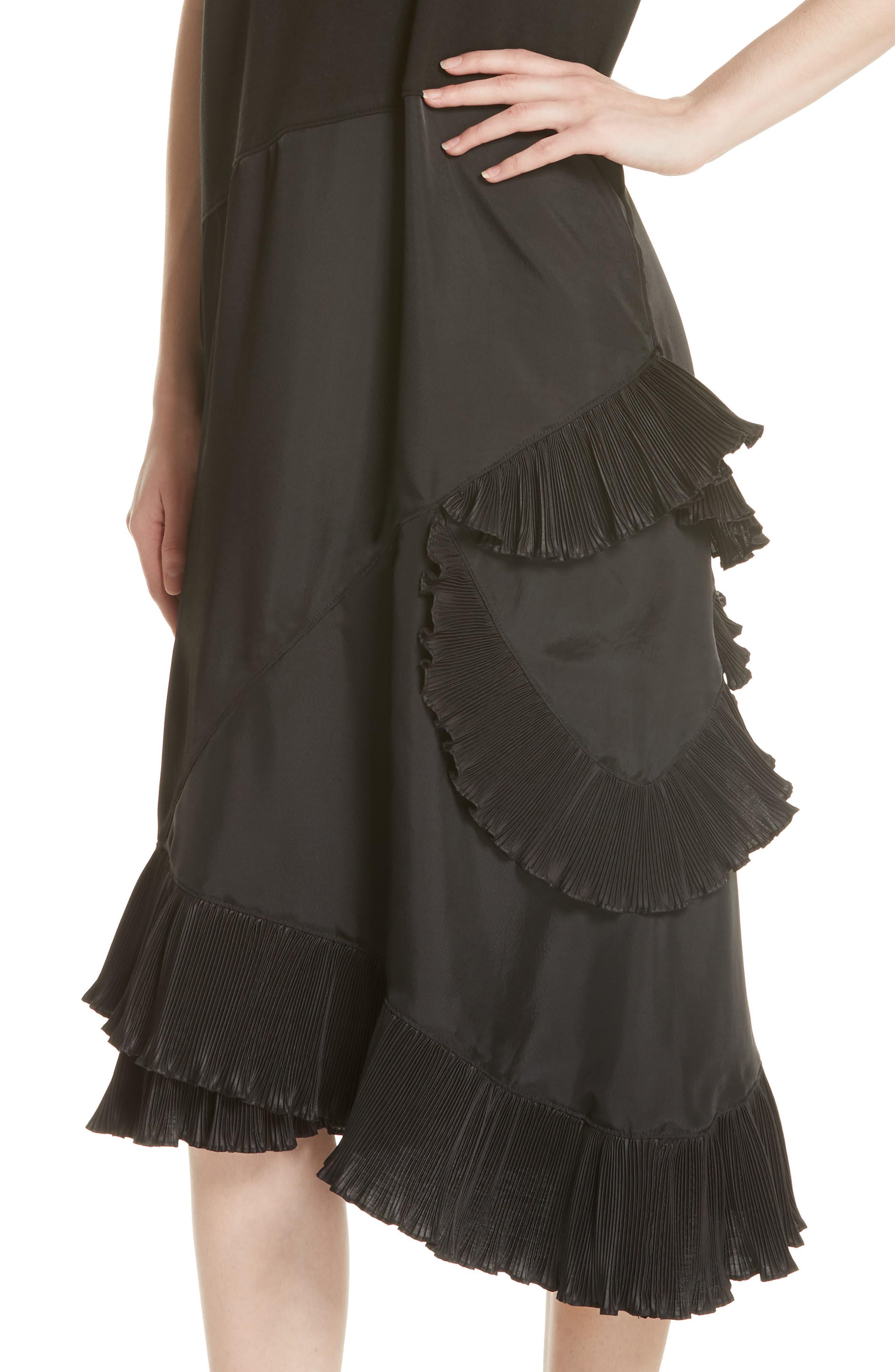 Pleat Ruffle Trim Asymmetrical Dress,                             Alternate thumbnail 4, color,                             Black/ Black