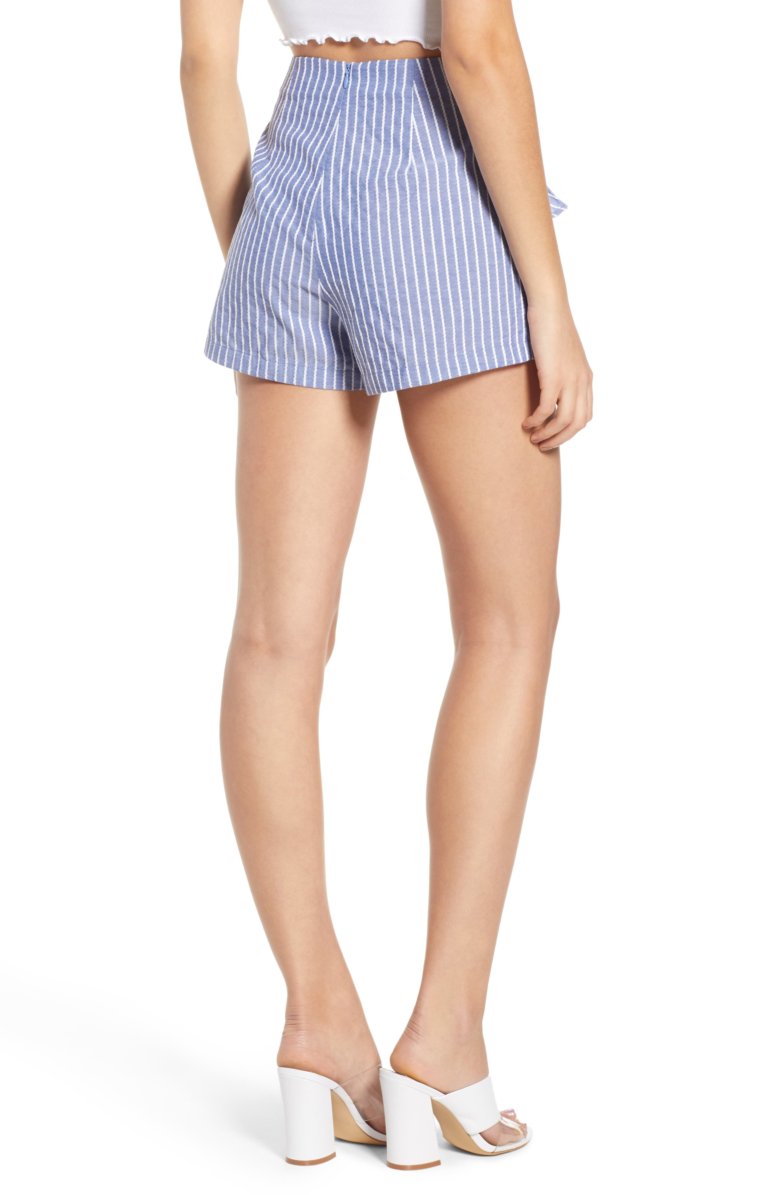 Parcel Ruffle Detail Shorts,                             Alternate thumbnail 7, color,                             Blue With White