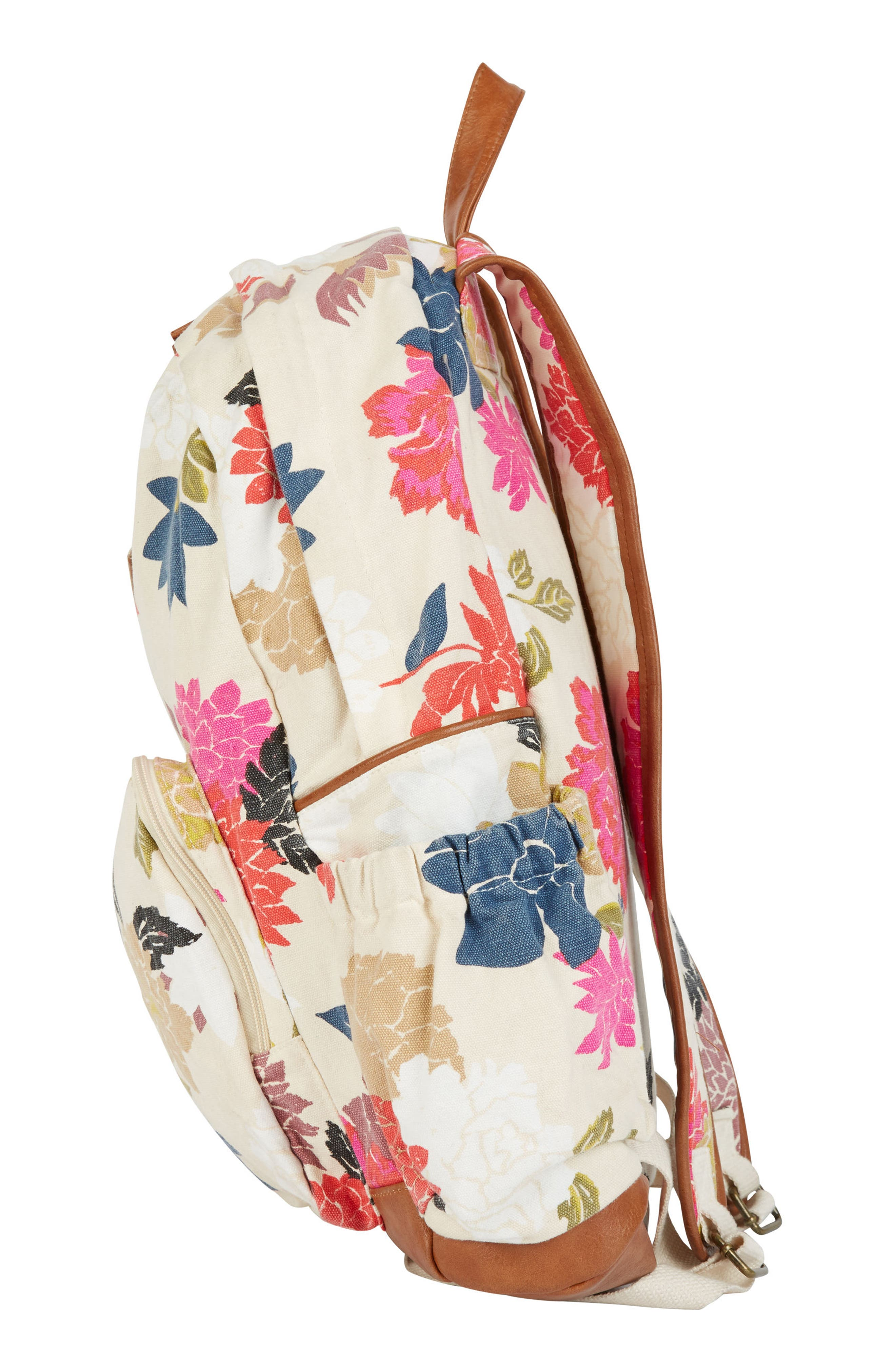 Home Abroad Floral Print Backpack,                             Alternate thumbnail 3, color,                             Cream