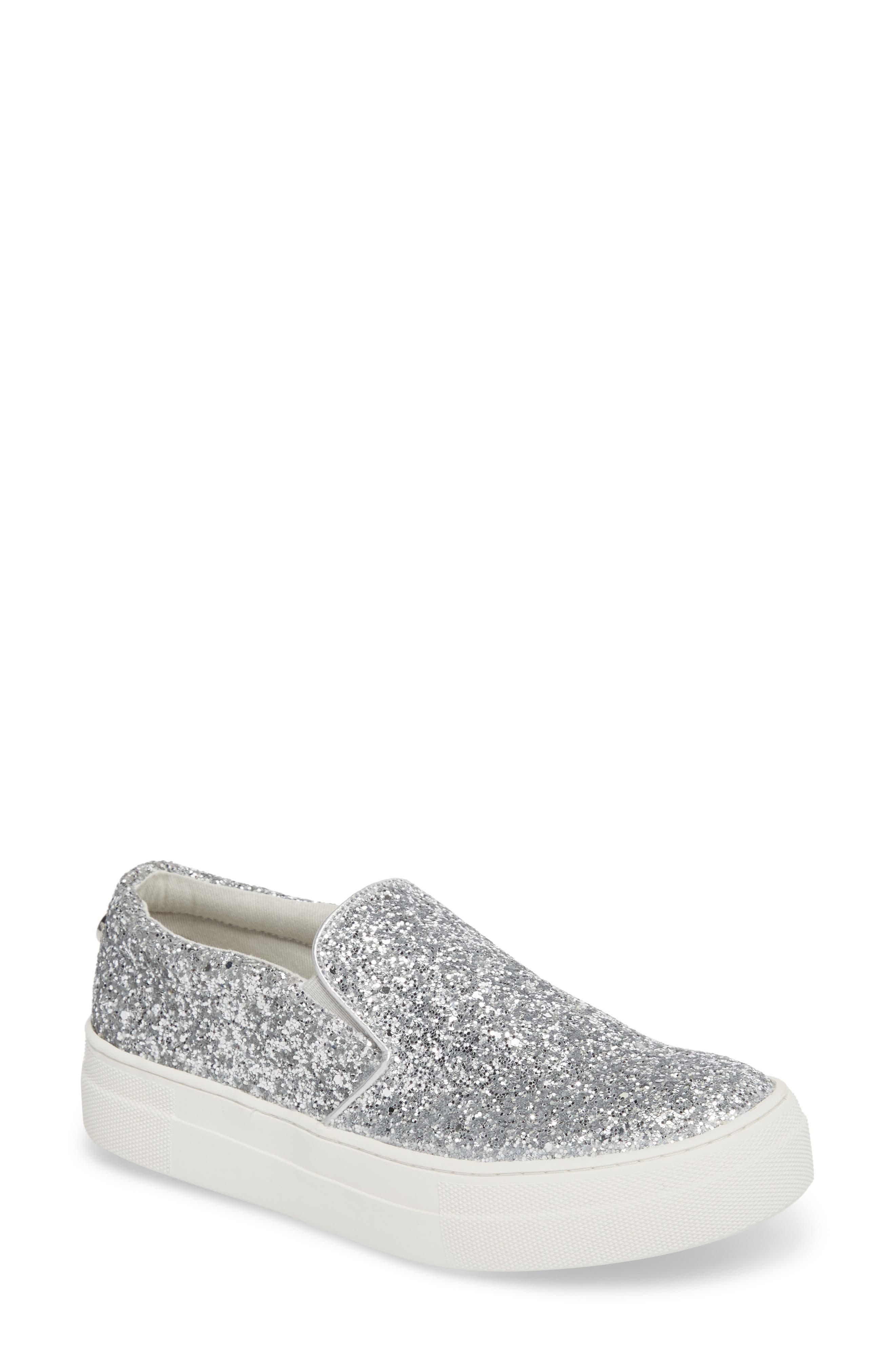 Gills Platform Slip-On Sneaker,                             Main thumbnail 1, color,                             Silver Glitter