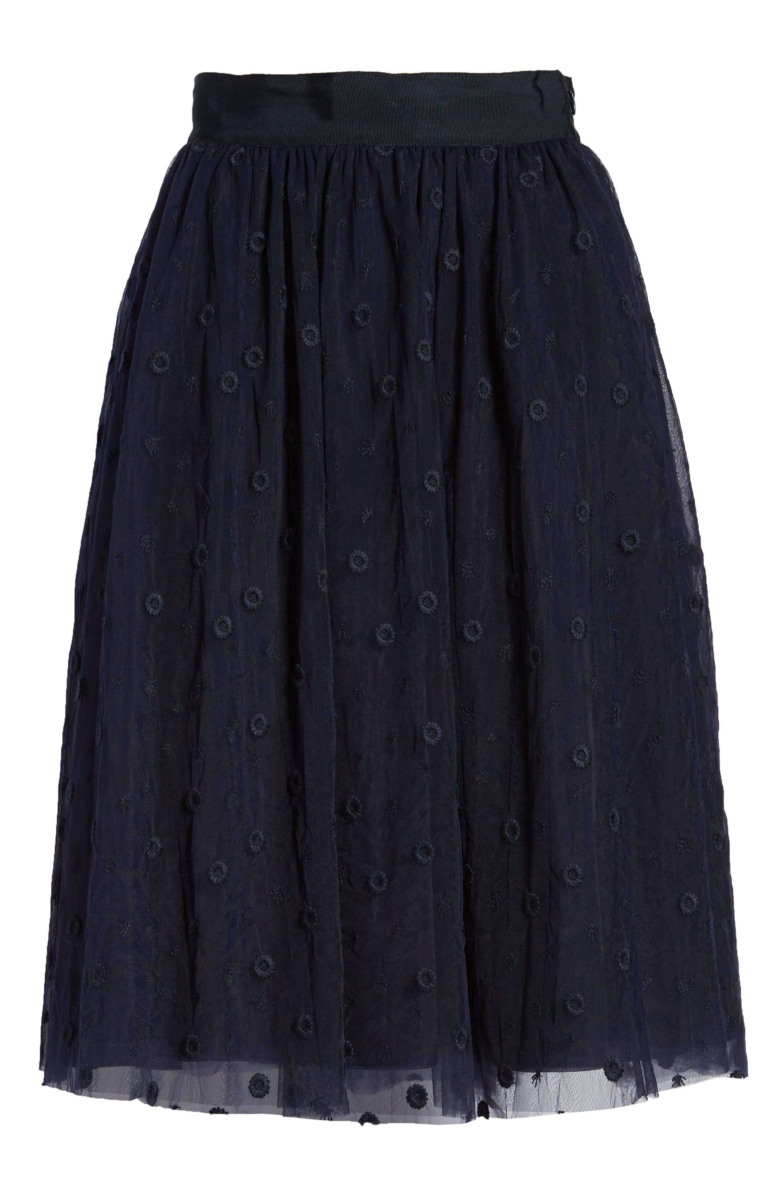 Embroidered Tulle Skirt,                             Alternate thumbnail 6, color,                             Navy Night