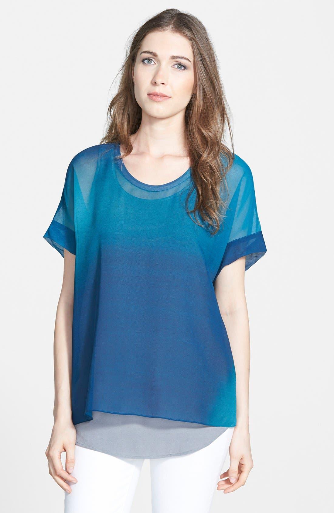 Ombré Silk Short Sleeve Top,                         Main,                         color, Jewel