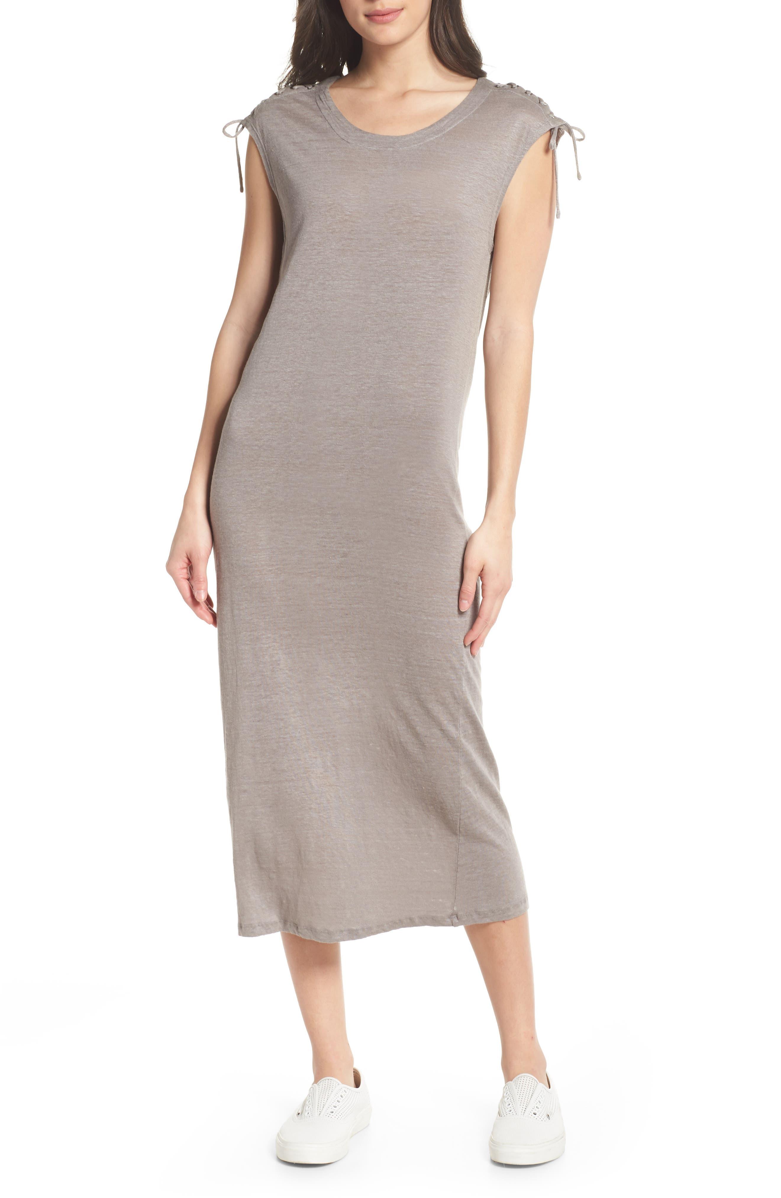 Lace-up Shoulder Jersey Midi Dress,                             Main thumbnail 1, color,                             Grey