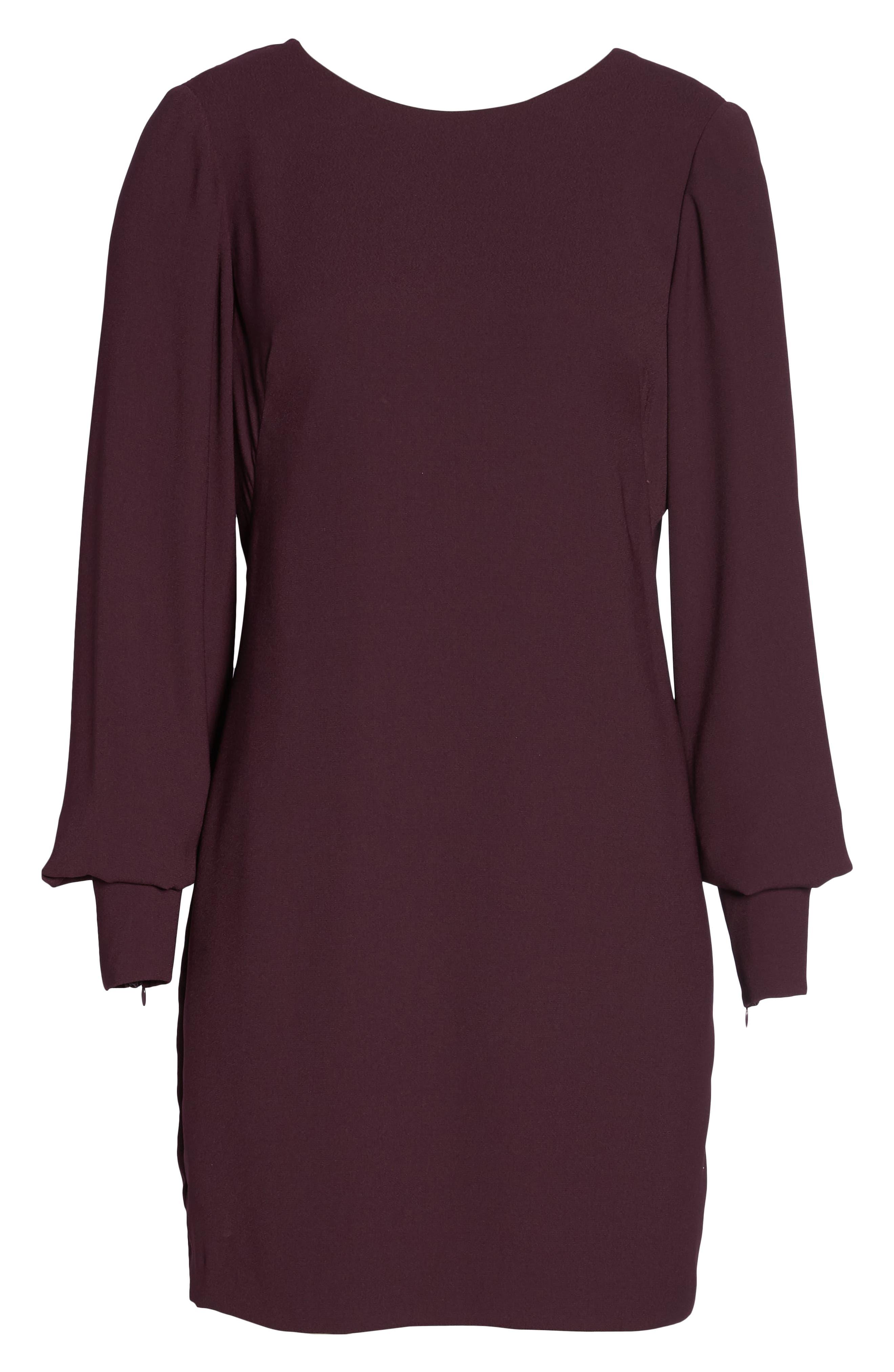 V-Back Shift Dress,                             Alternate thumbnail 11, color,                             Burgundy Stem
