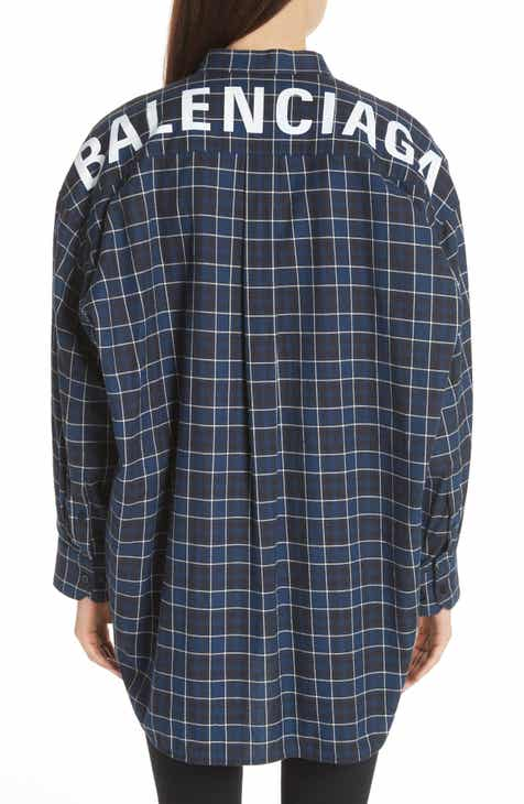16f0658d276730 Balenciaga Back Logo Flannel Shirt