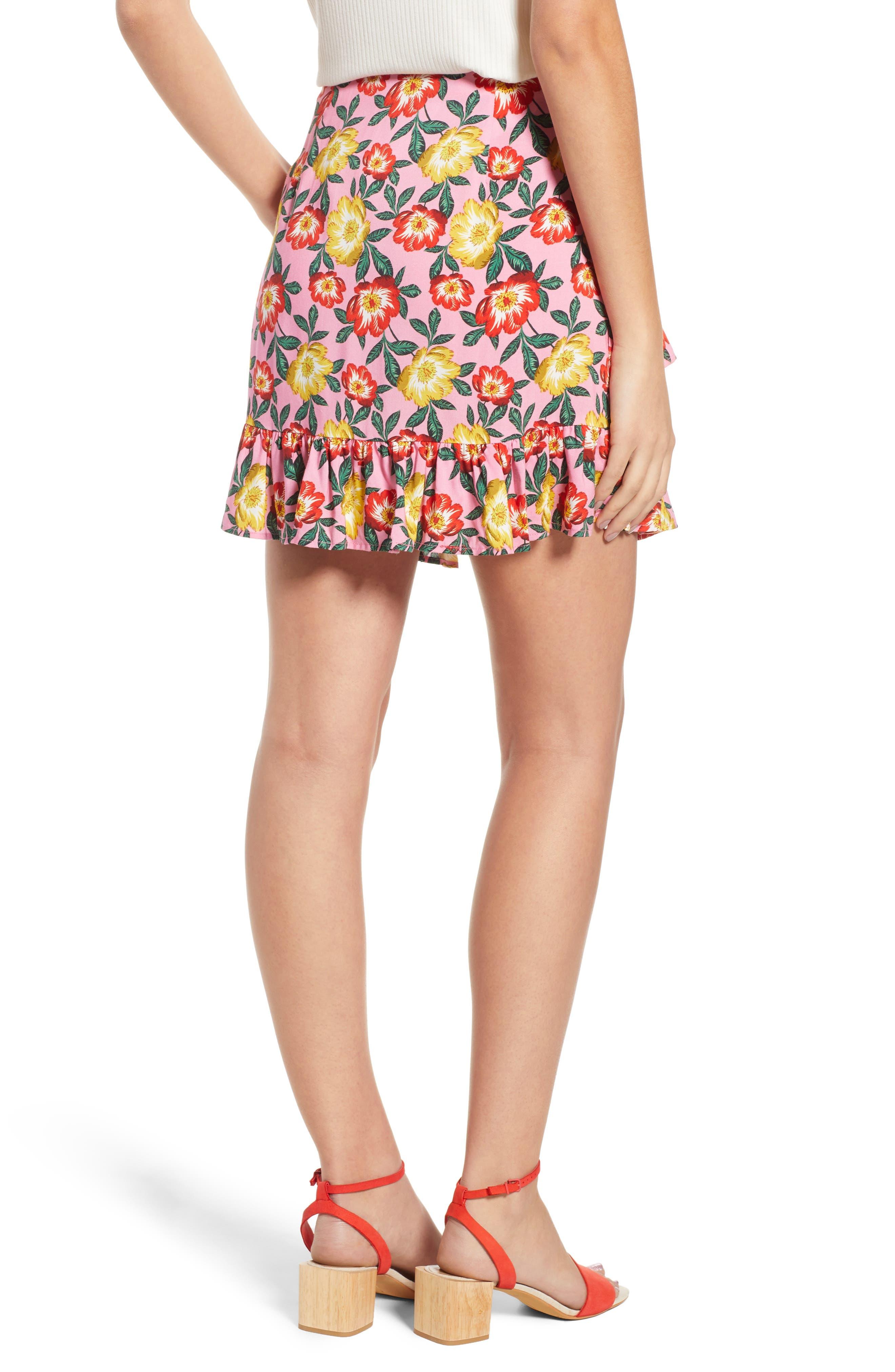 Reunion Floral Print Wrap Skirt,                             Alternate thumbnail 3, color,                             Small Blossom Roselle