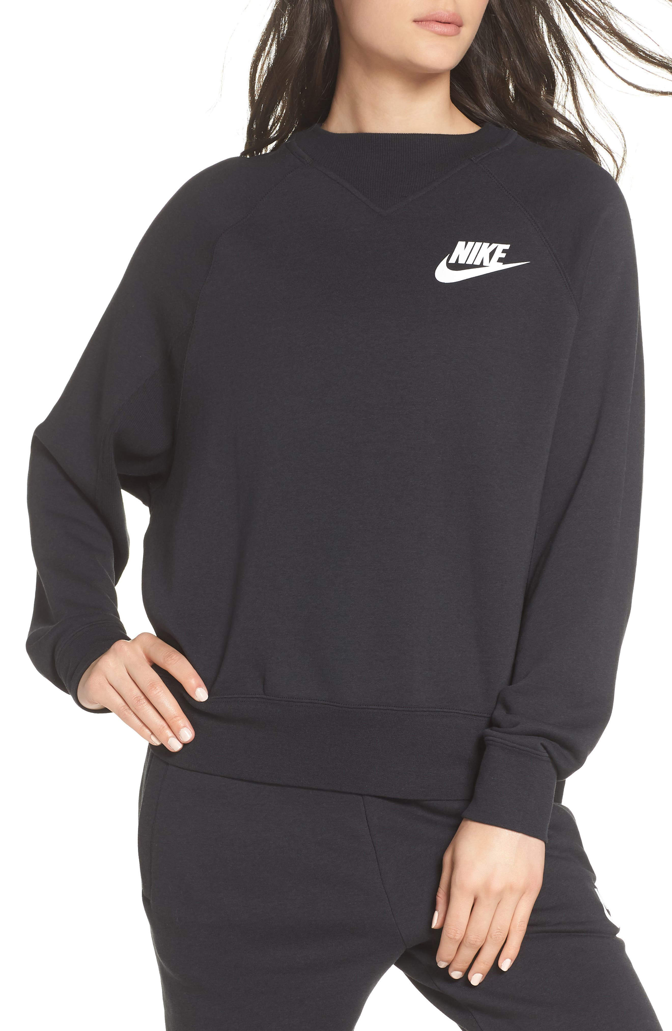 Sportswear Rally Sweatshirt,                             Main thumbnail 1, color,                             Black/ White