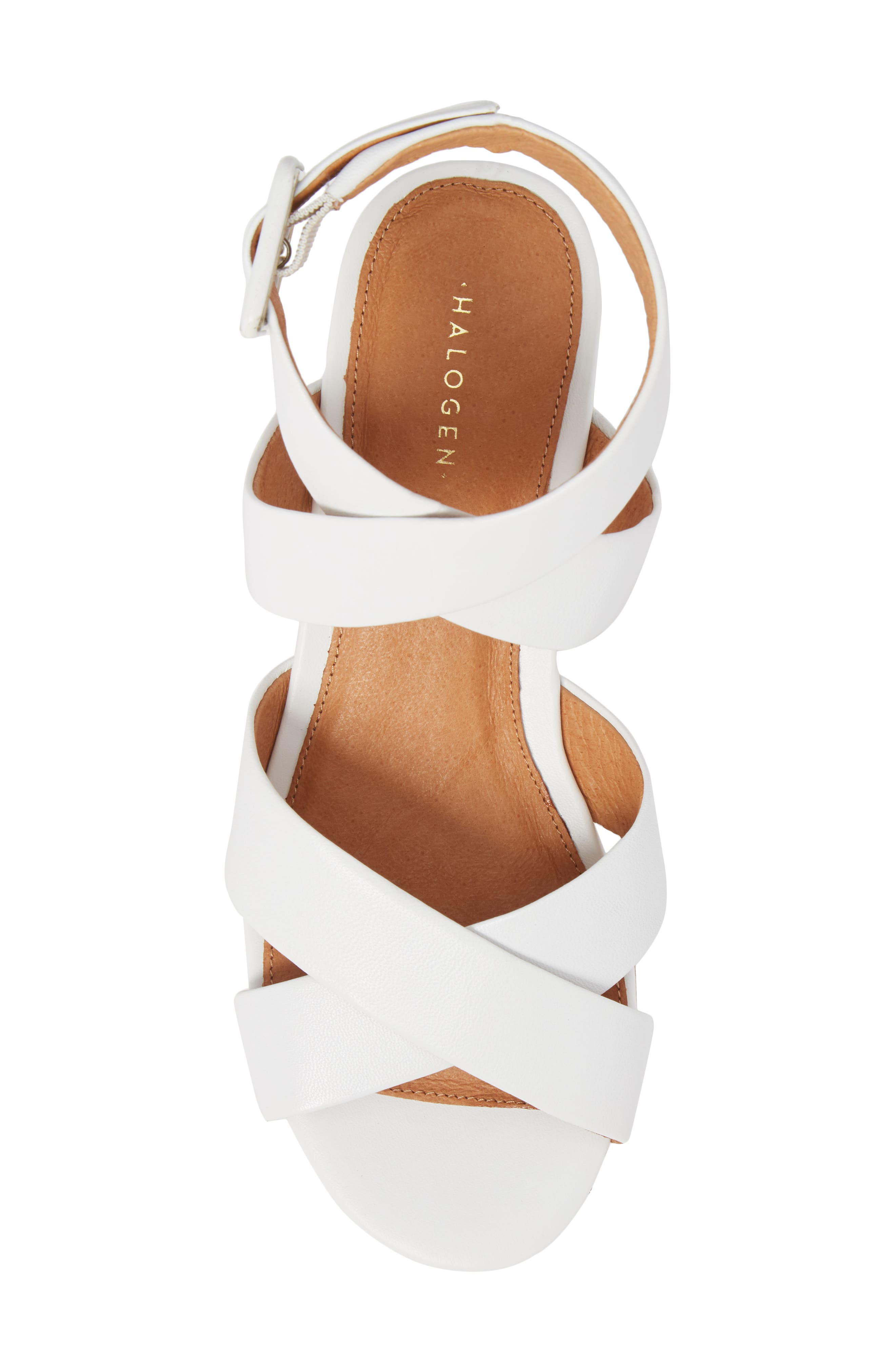 Evie Platform Wedge Sandal,                             Alternate thumbnail 5, color,                             White Leather