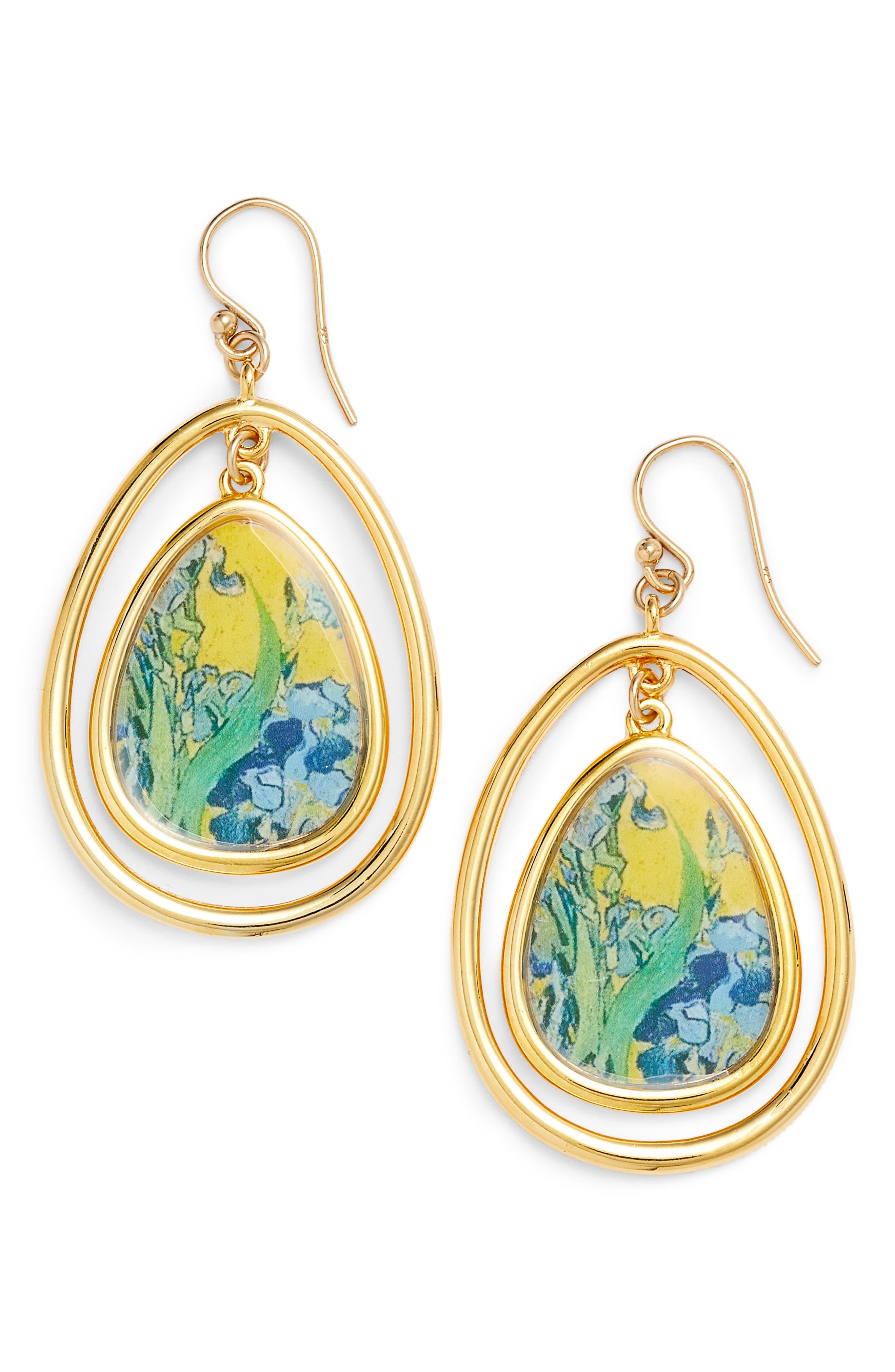 Irises Teardrop Drop Earrings,                             Main thumbnail 1, color,                             Yellow