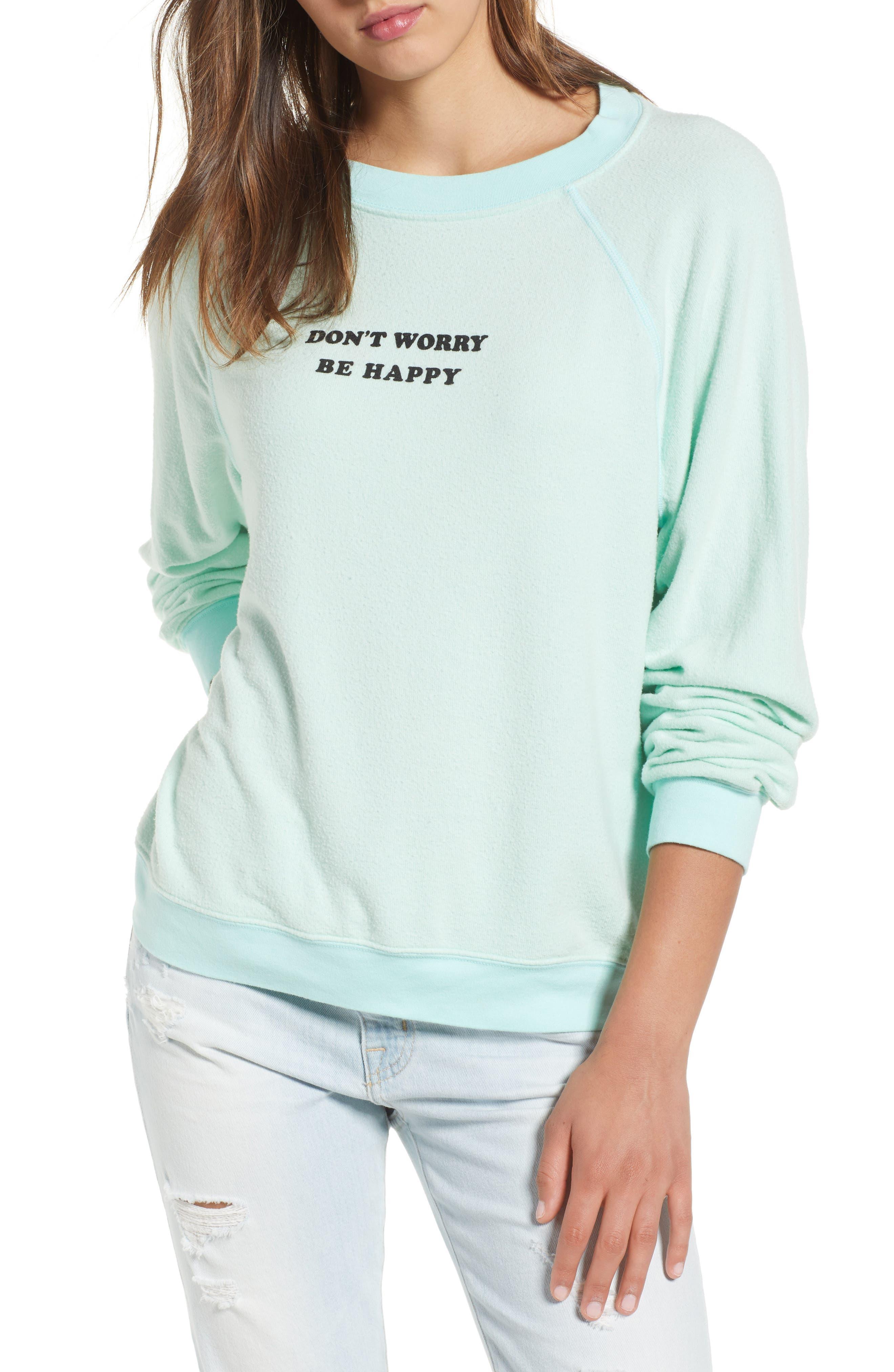 Be Happy Sweatshirt,                             Main thumbnail 1, color,                             Aqua Diver