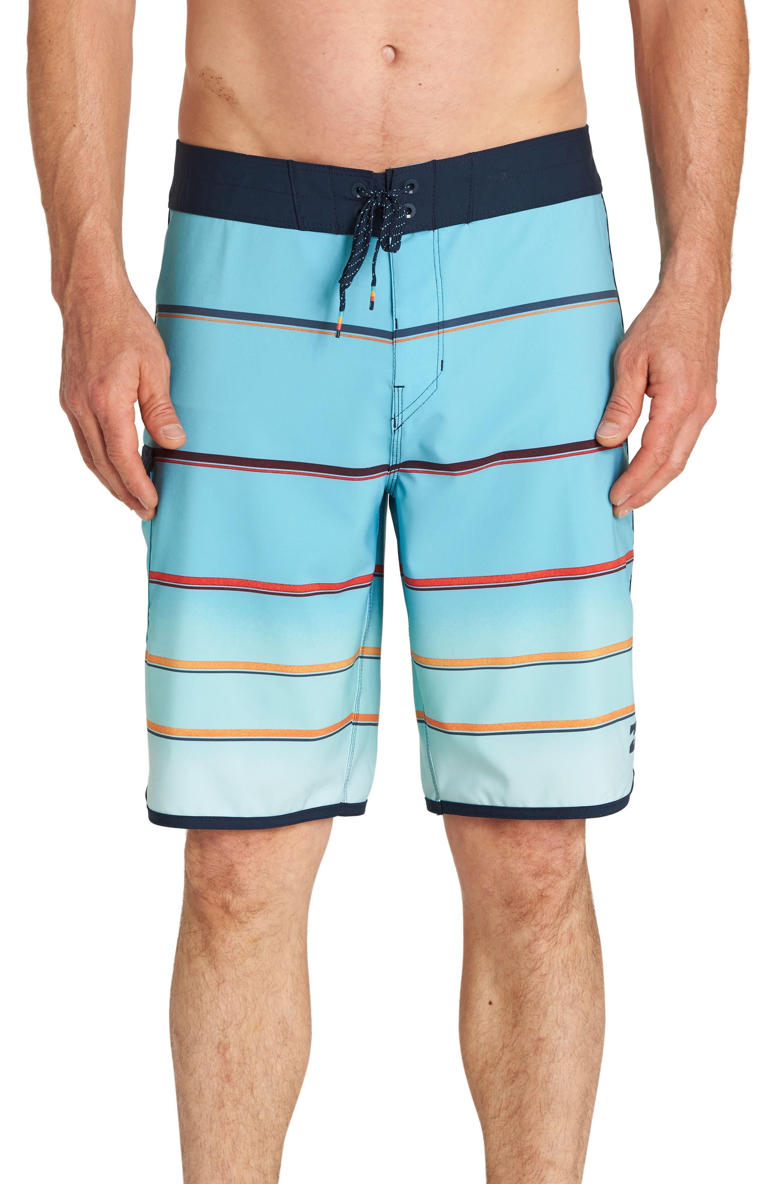 73 X Stripe Board Shorts,                         Main,                         color, Mint