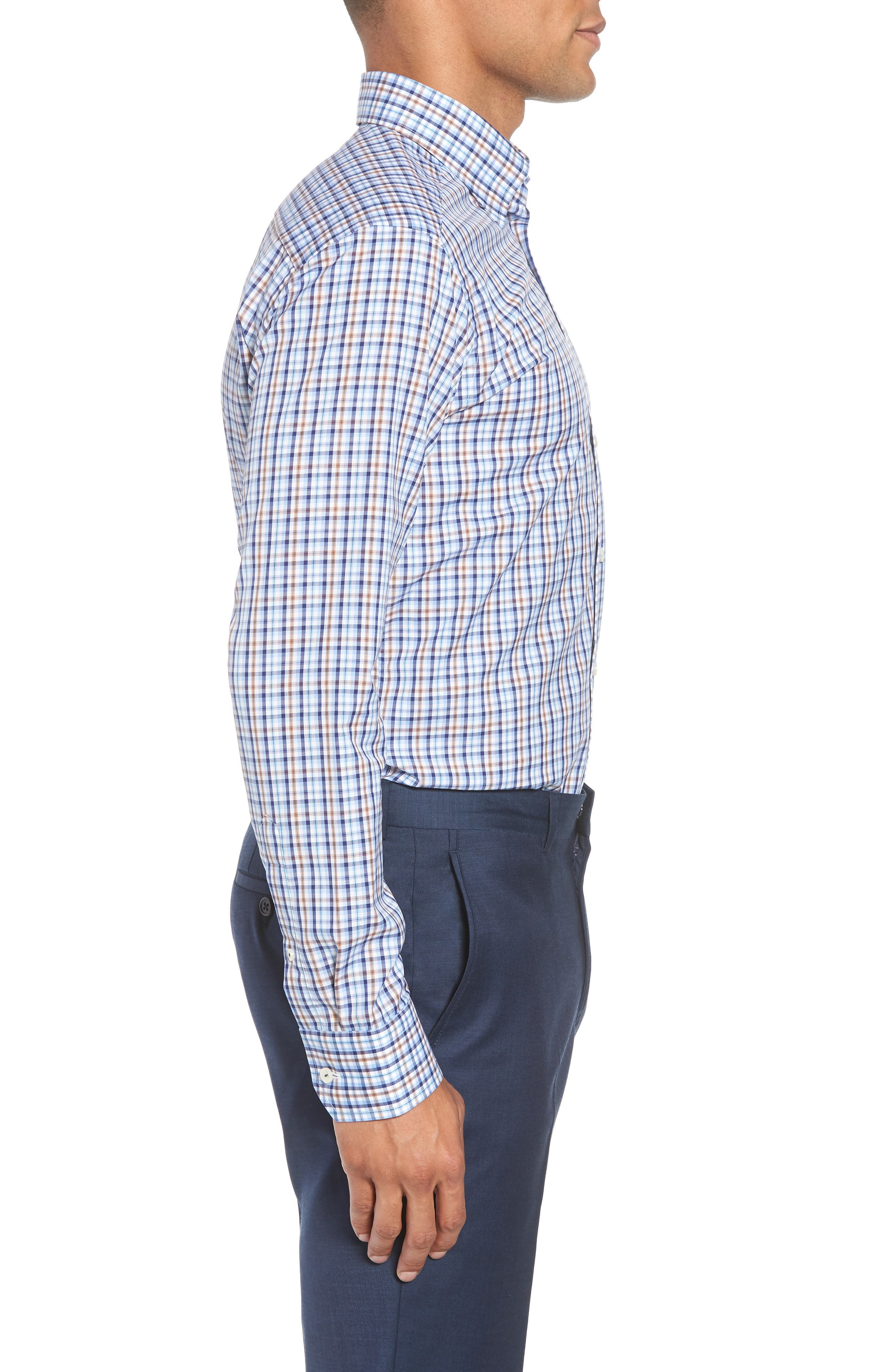 Contemporary Fit Plaid Dress Shirt,                             Alternate thumbnail 4, color,                             Blue