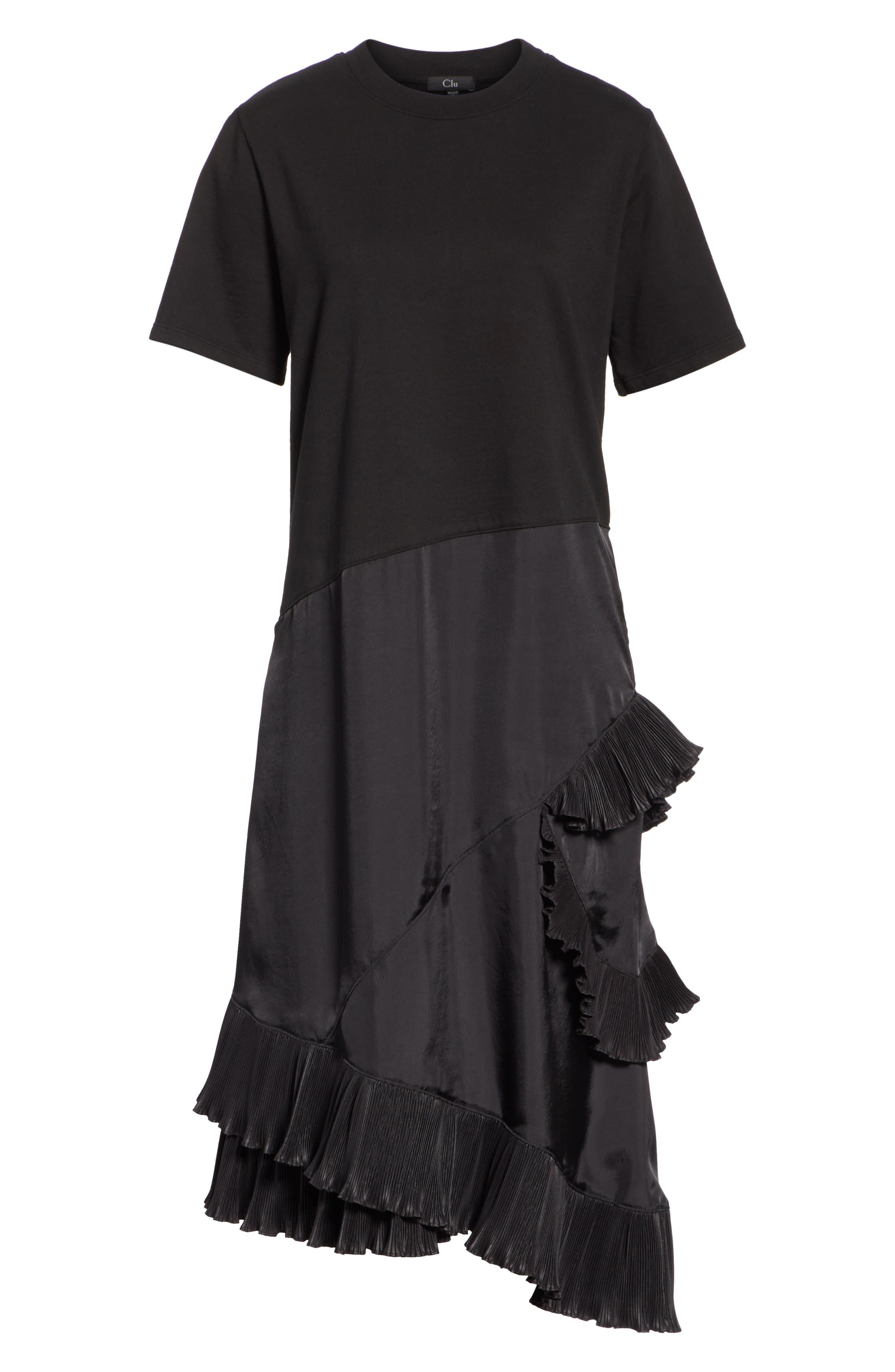 Pleat Ruffle Trim Asymmetrical Dress,                             Alternate thumbnail 6, color,                             Black/ Black