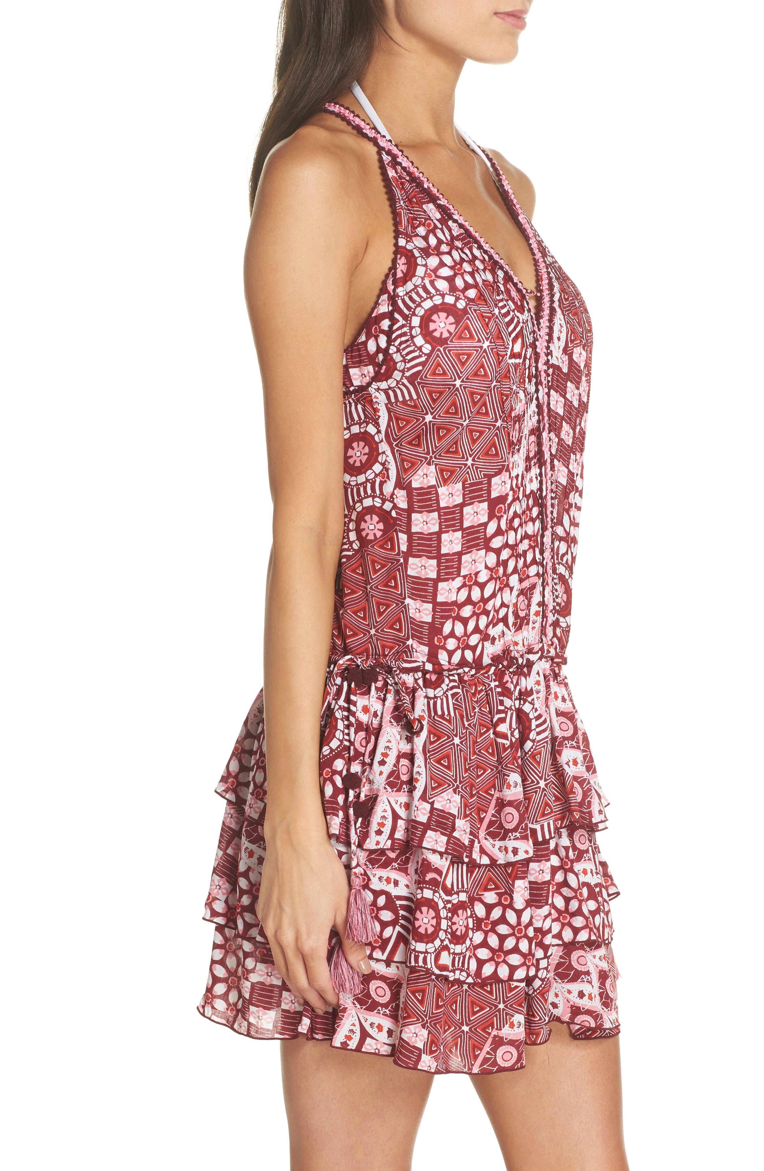 Poupette St. Barth Bety Cover-Up Minidress,                             Alternate thumbnail 3, color,                             Pink Mali