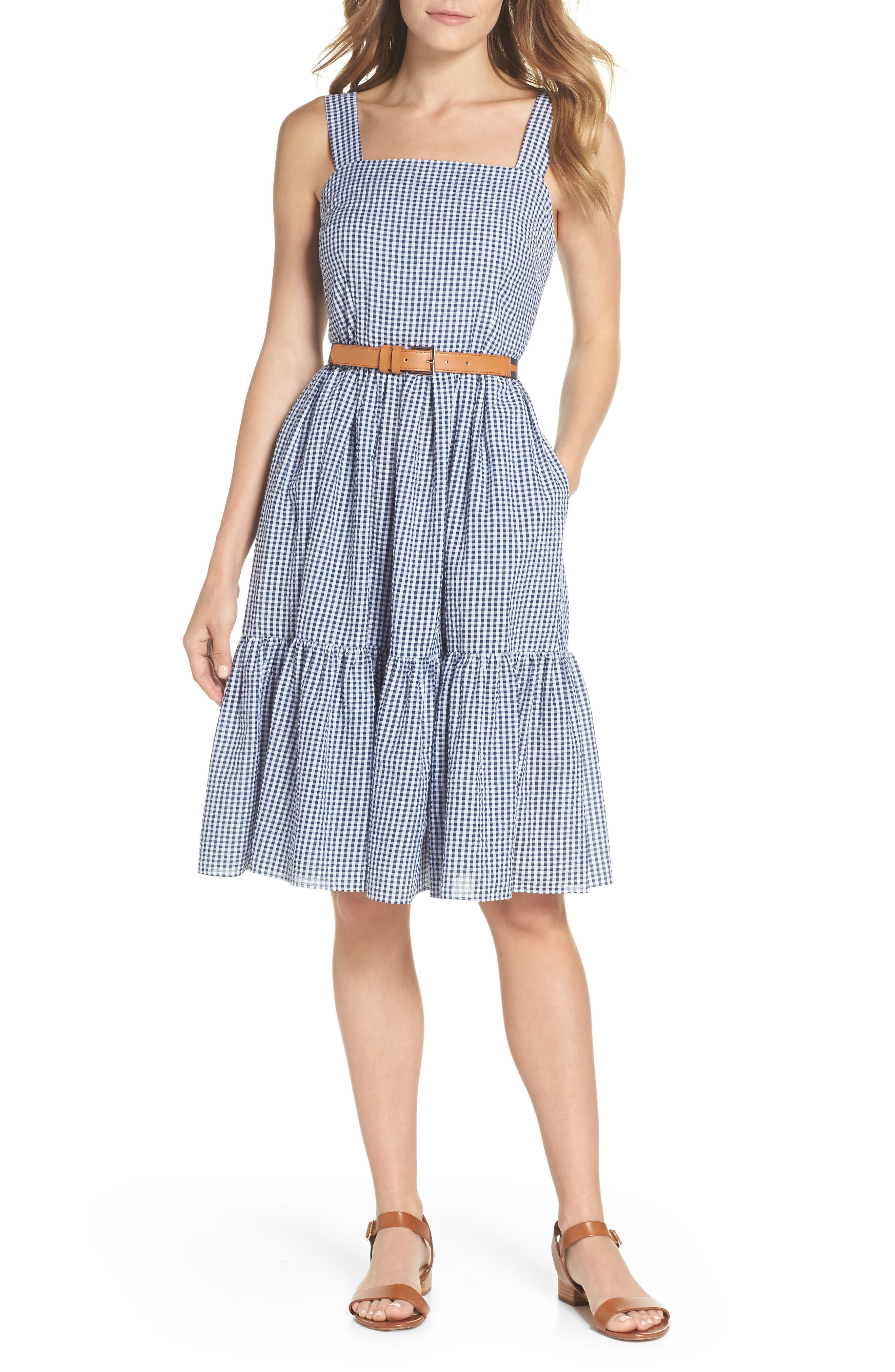Ruffle Hem Seersucker Check Fit & Flare Dress,                         Main,                         color, Navy/ Ivory
