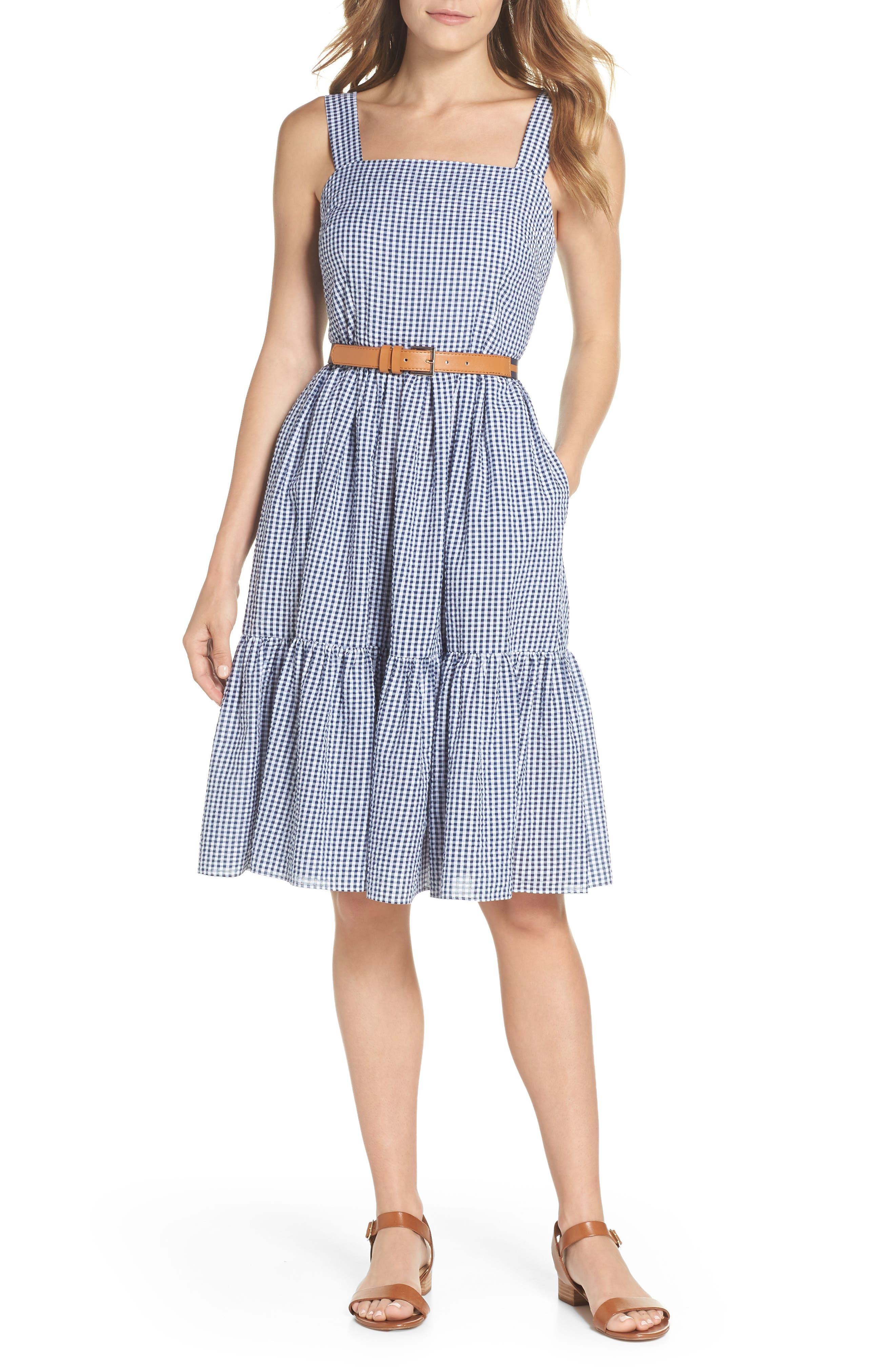 Ruffle Hem Seersucker Check Fit & Flare Dress,                         Main,                         color, Navy/ Ivory