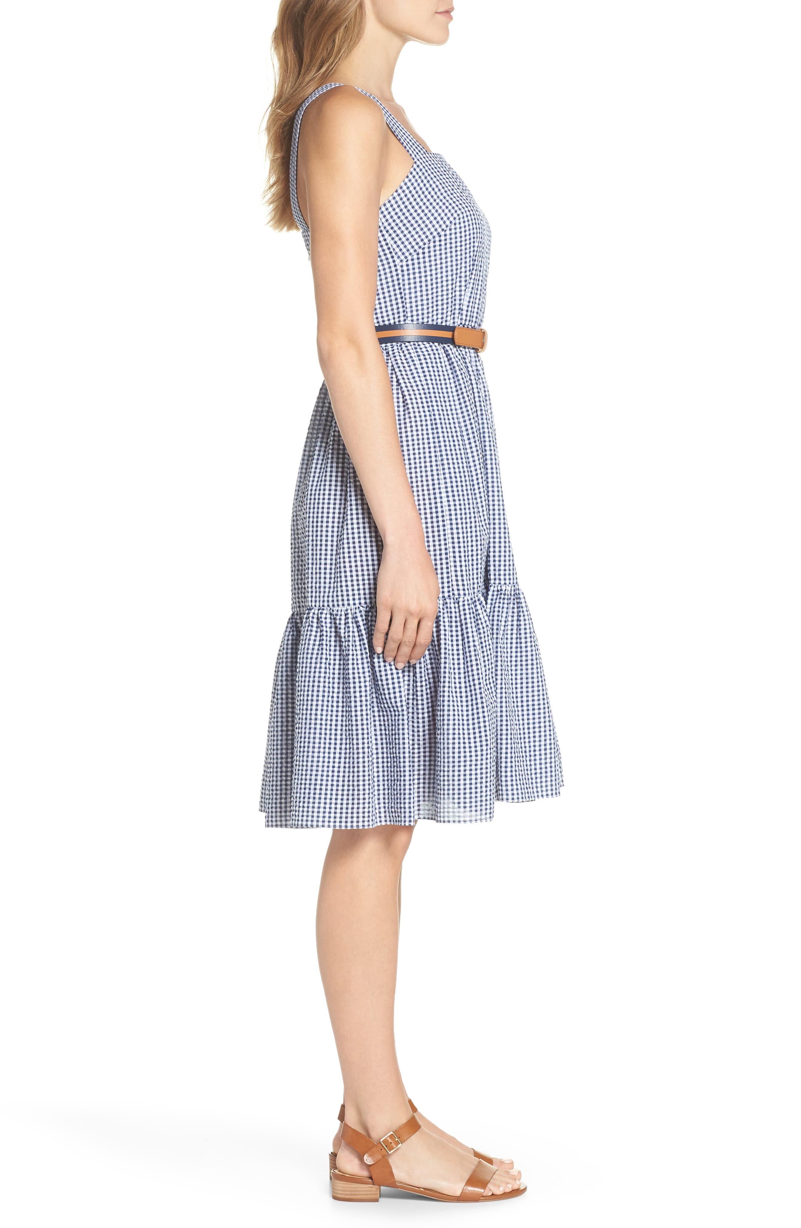 Ruffle Hem Seersucker Check Fit & Flare Dress,                             Alternate thumbnail 3, color,                             Navy/ Ivory