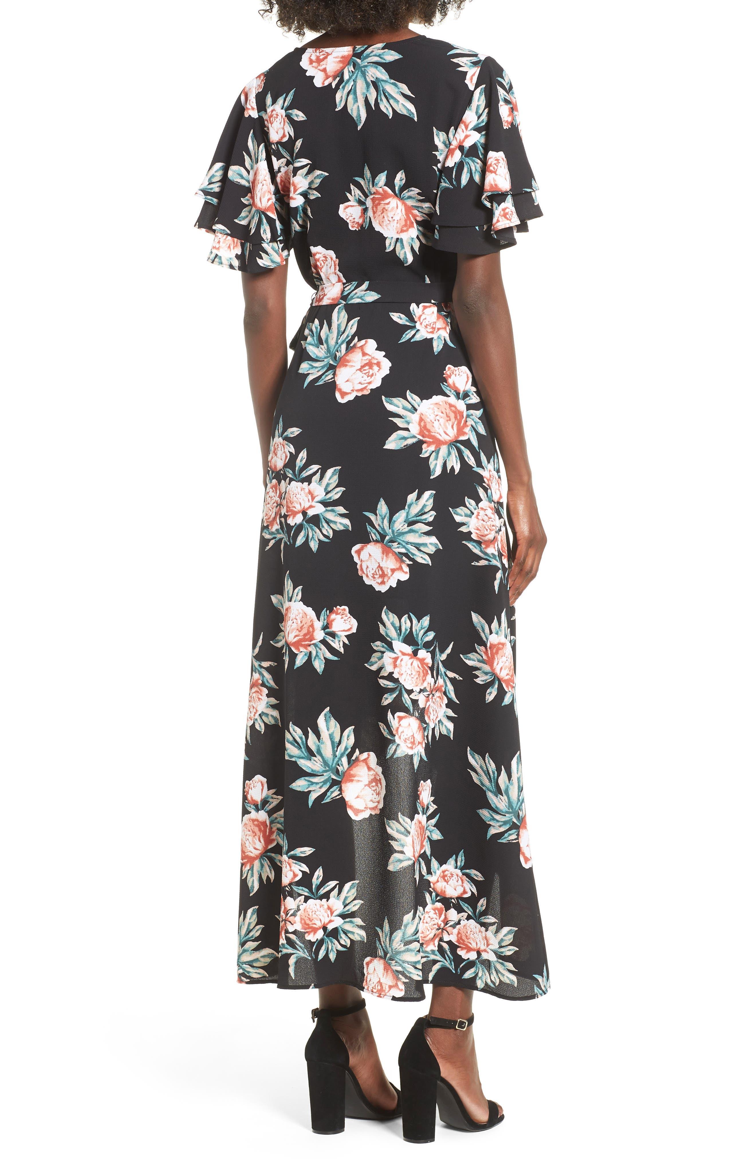 Ruffle Sleeve Floral Maxi Dress,                             Alternate thumbnail 2, color,                             Black Floral