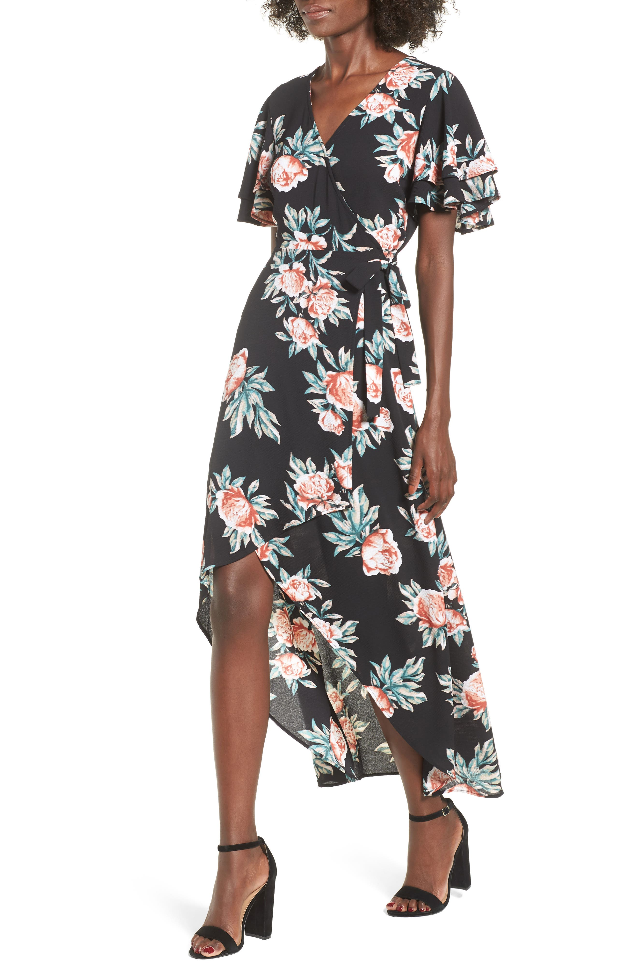 Ruffle Sleeve Floral Maxi Dress,                             Main thumbnail 1, color,                             Black Floral
