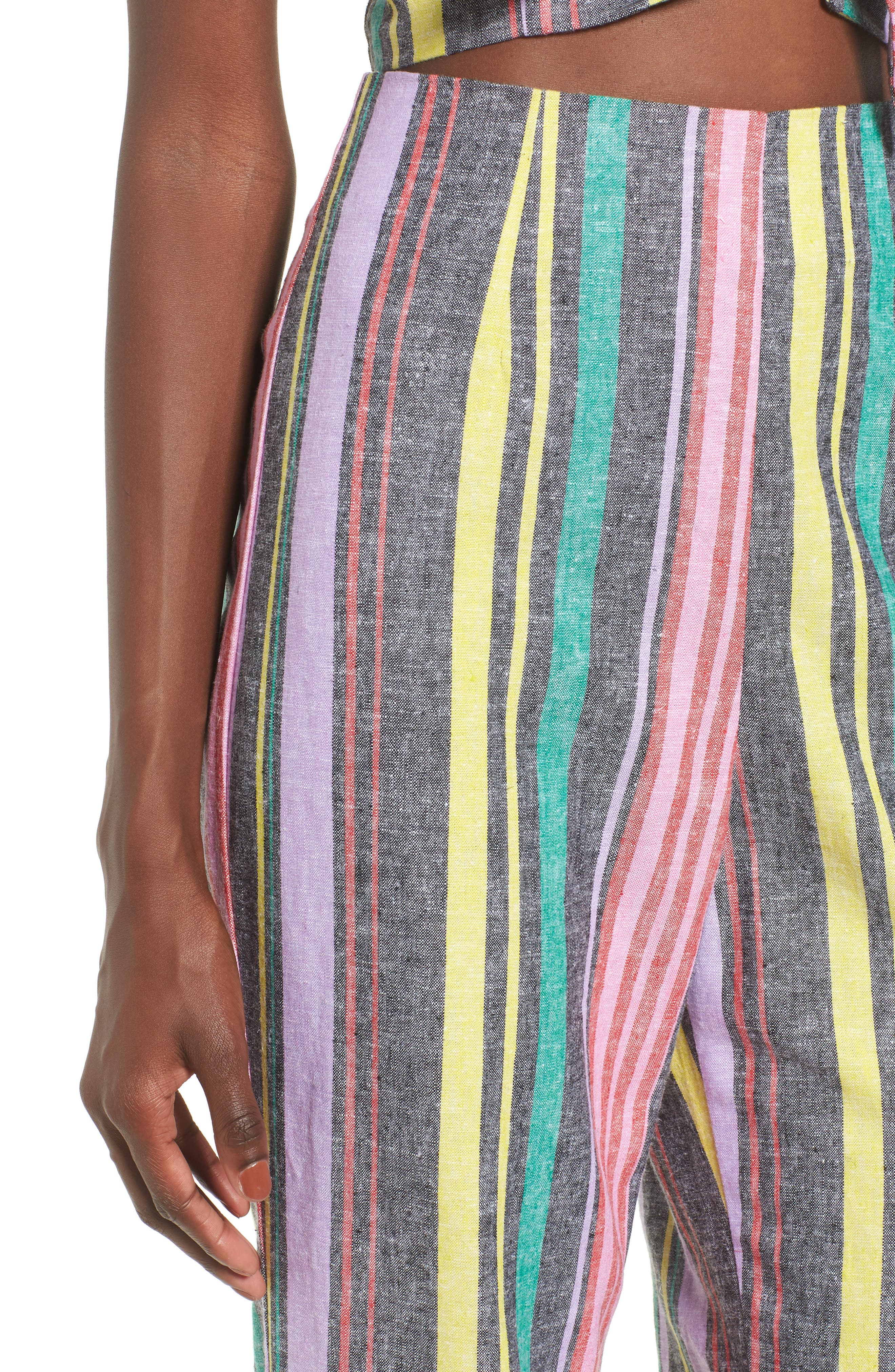 Karina High Waist Crop Flare Pant,                             Alternate thumbnail 6, color,                             Rainbow Stripe