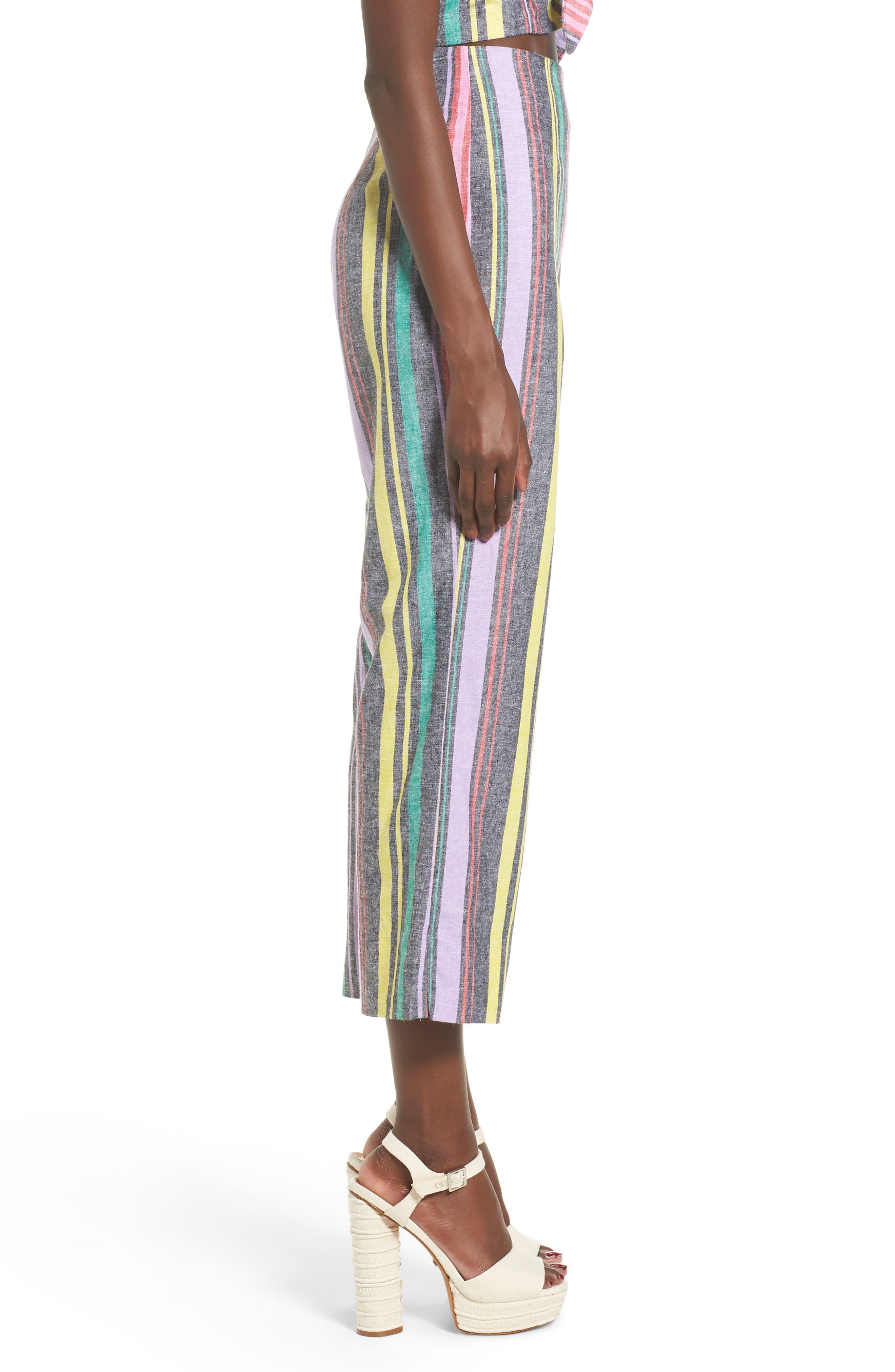 Karina High Waist Crop Flare Pant,                             Alternate thumbnail 4, color,                             Rainbow Stripe