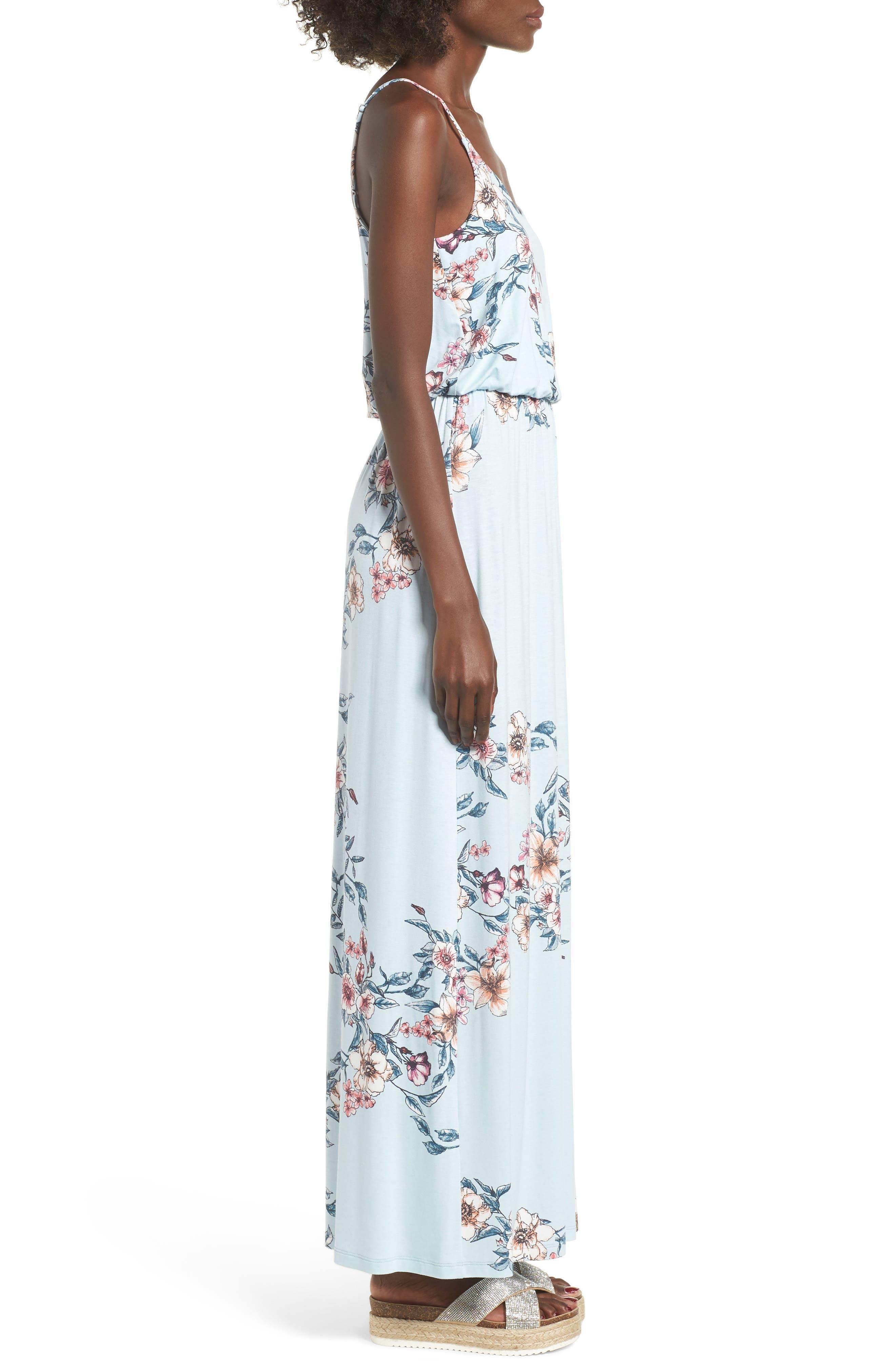 Knit Maxi Dress,                             Alternate thumbnail 3, color,                             Sky Rose