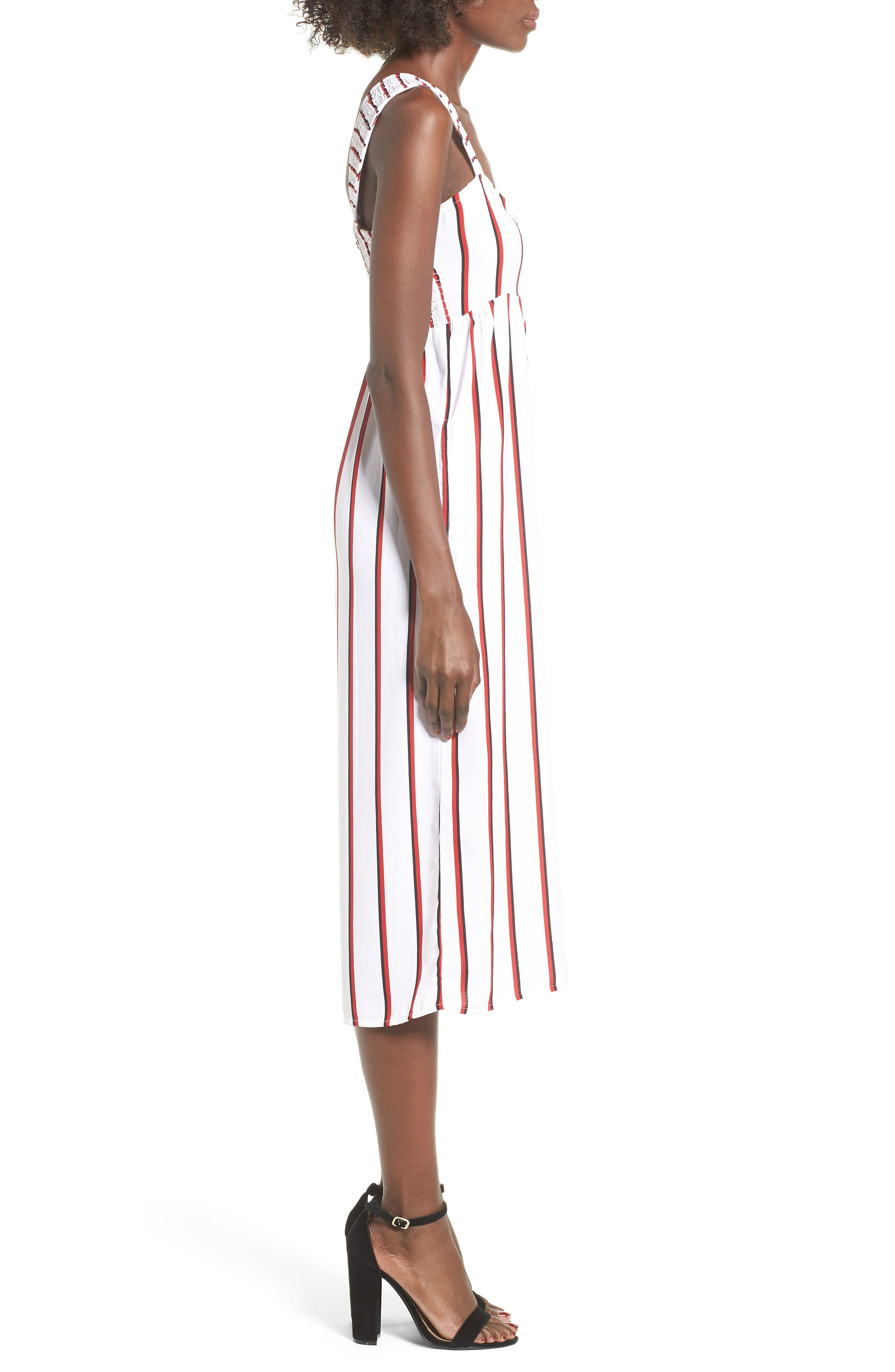 Counting Moons Crop Jumpsuit,                             Alternate thumbnail 3, color,                             Chili Red
