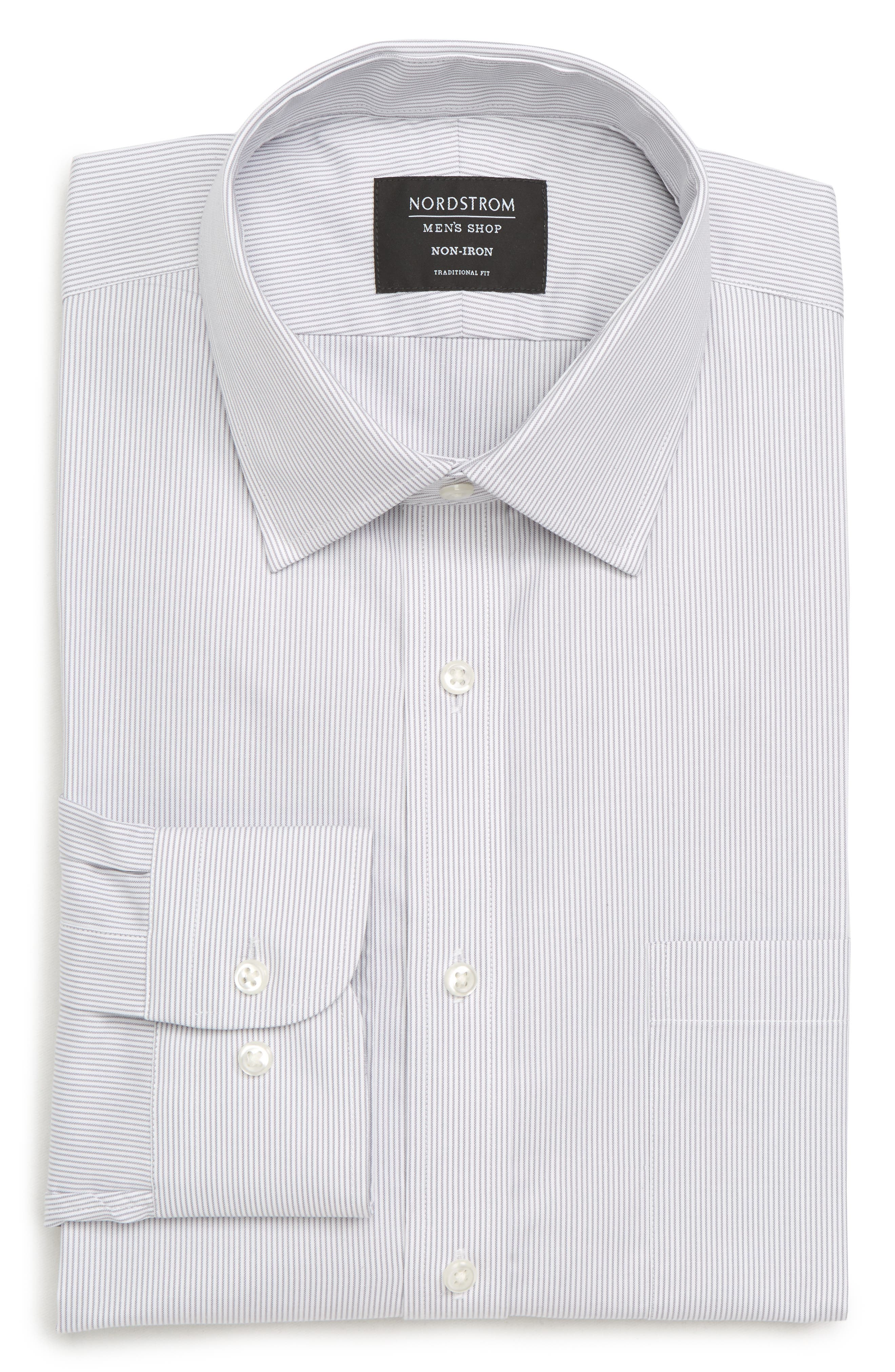 Traditional Fit Non-Iron Stripe Dress Shirt,                             Alternate thumbnail 6, color,                             Grey Dapple