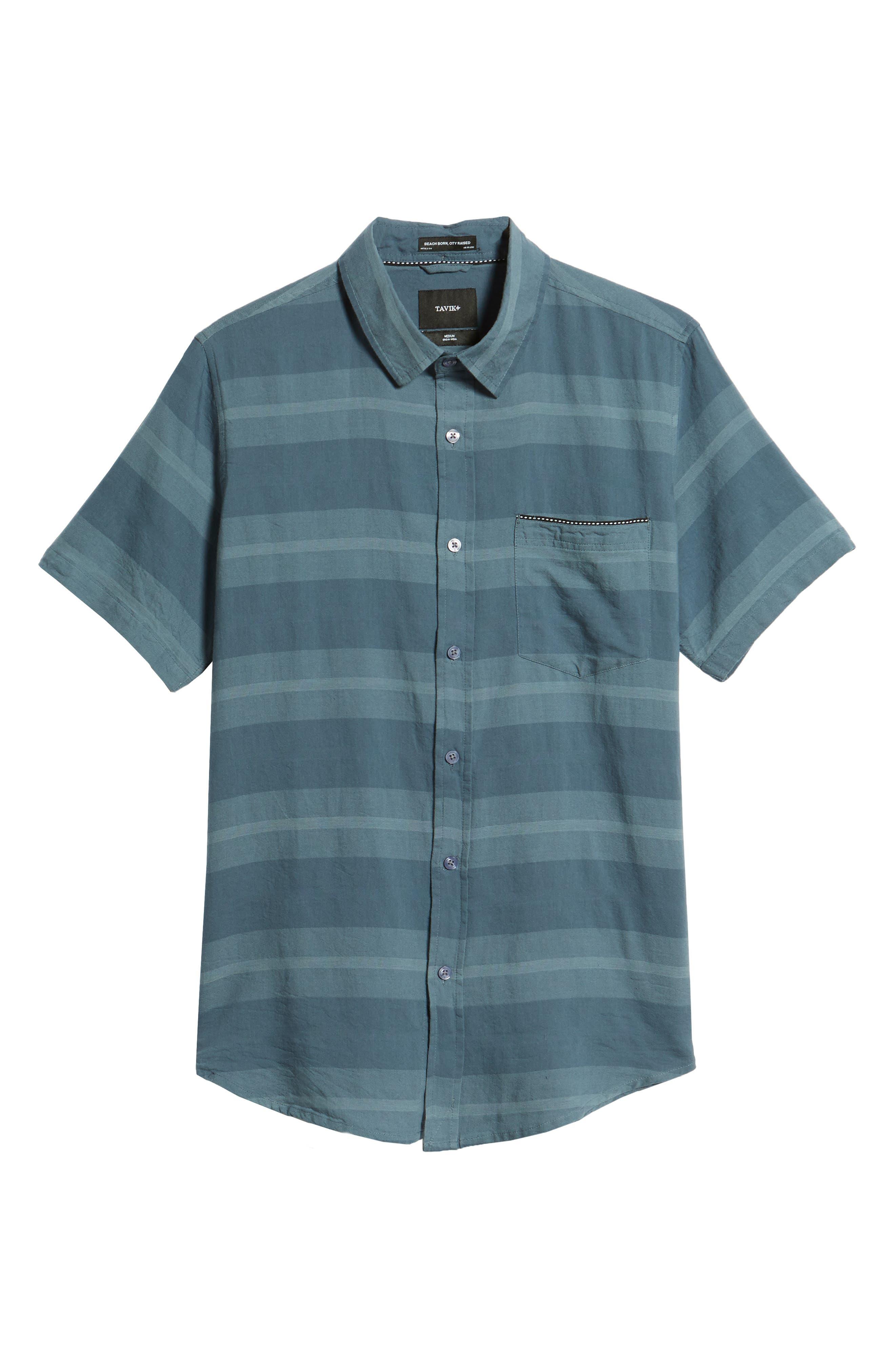 Dobson Woven Shirt,                             Alternate thumbnail 6, color,                             Storm Blue/Prison Blue Stripe
