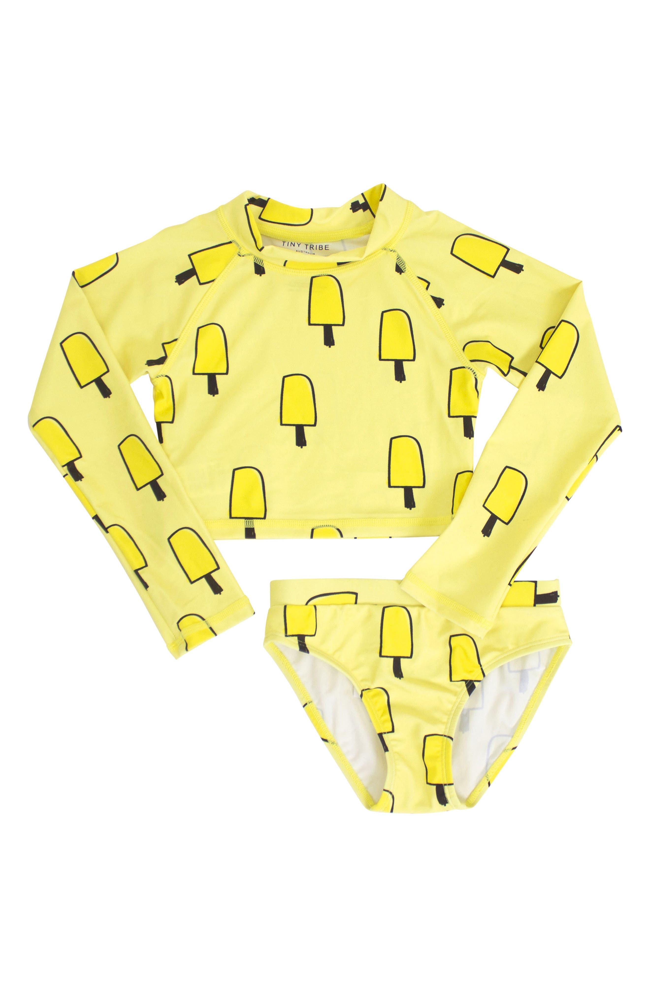 Two-Piece Rashguard Swimsuit,                         Main,                         color, Yellow
