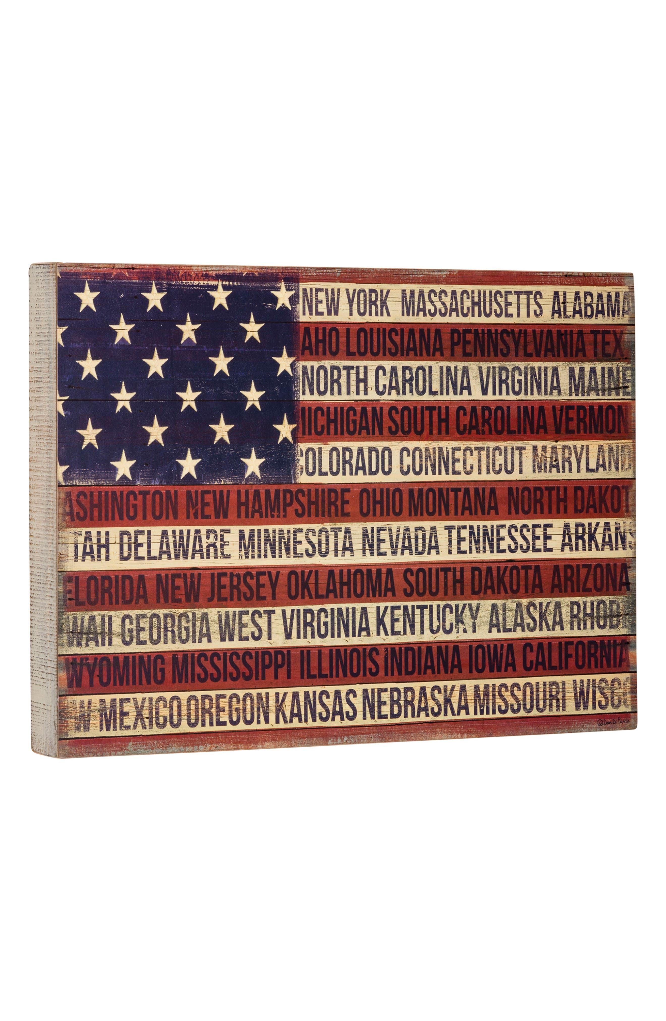 Flag States Box Sign,                             Main thumbnail 1, color,                             Brown