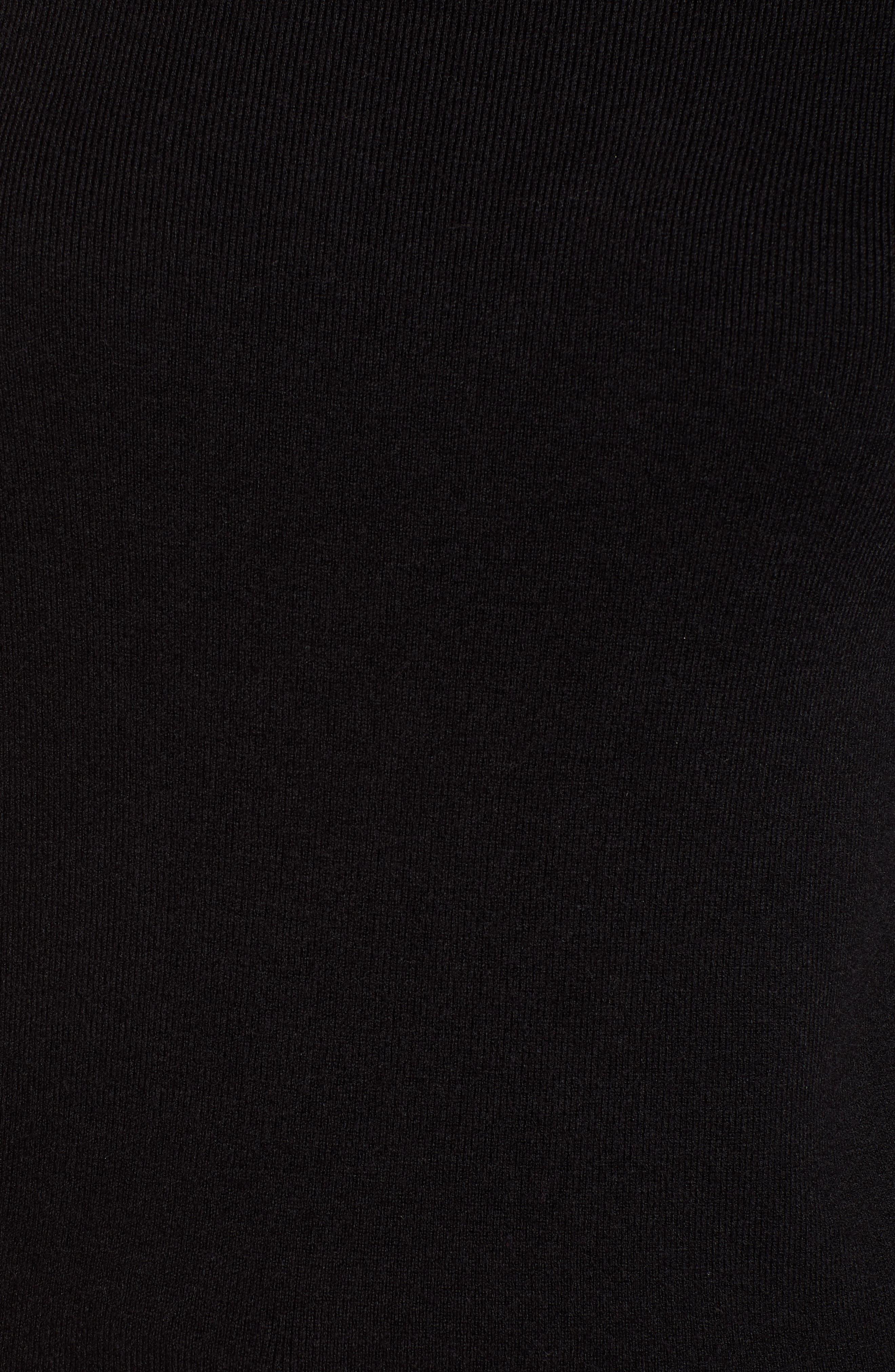 Halogen Scallop Edge Sweater,                             Alternate thumbnail 5, color,                             Black