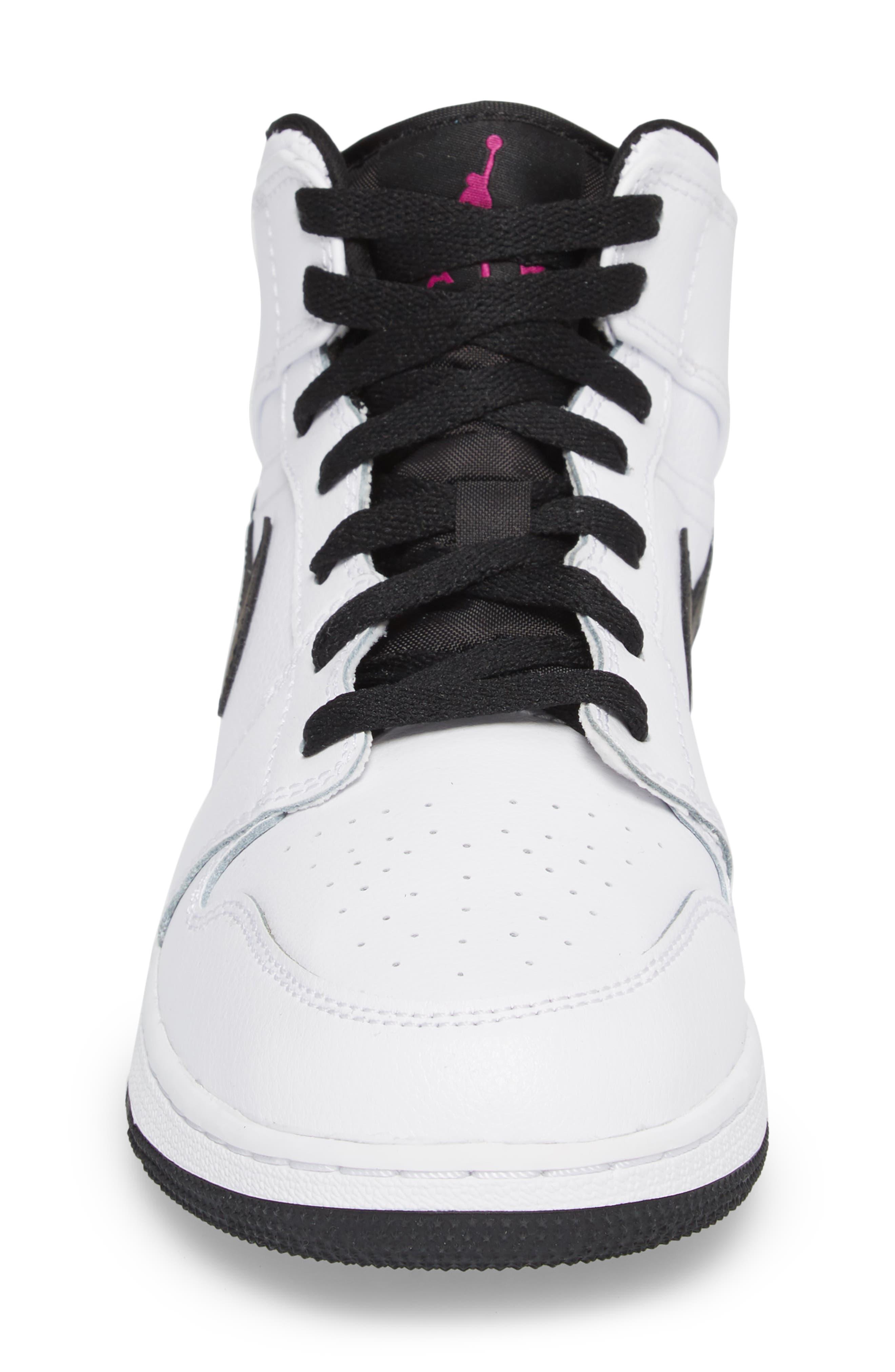 Nike 'Air Jordan 1 Mid' Sneaker,                             Alternate thumbnail 4, color,                             White/ Fuchsia Blast/ Black