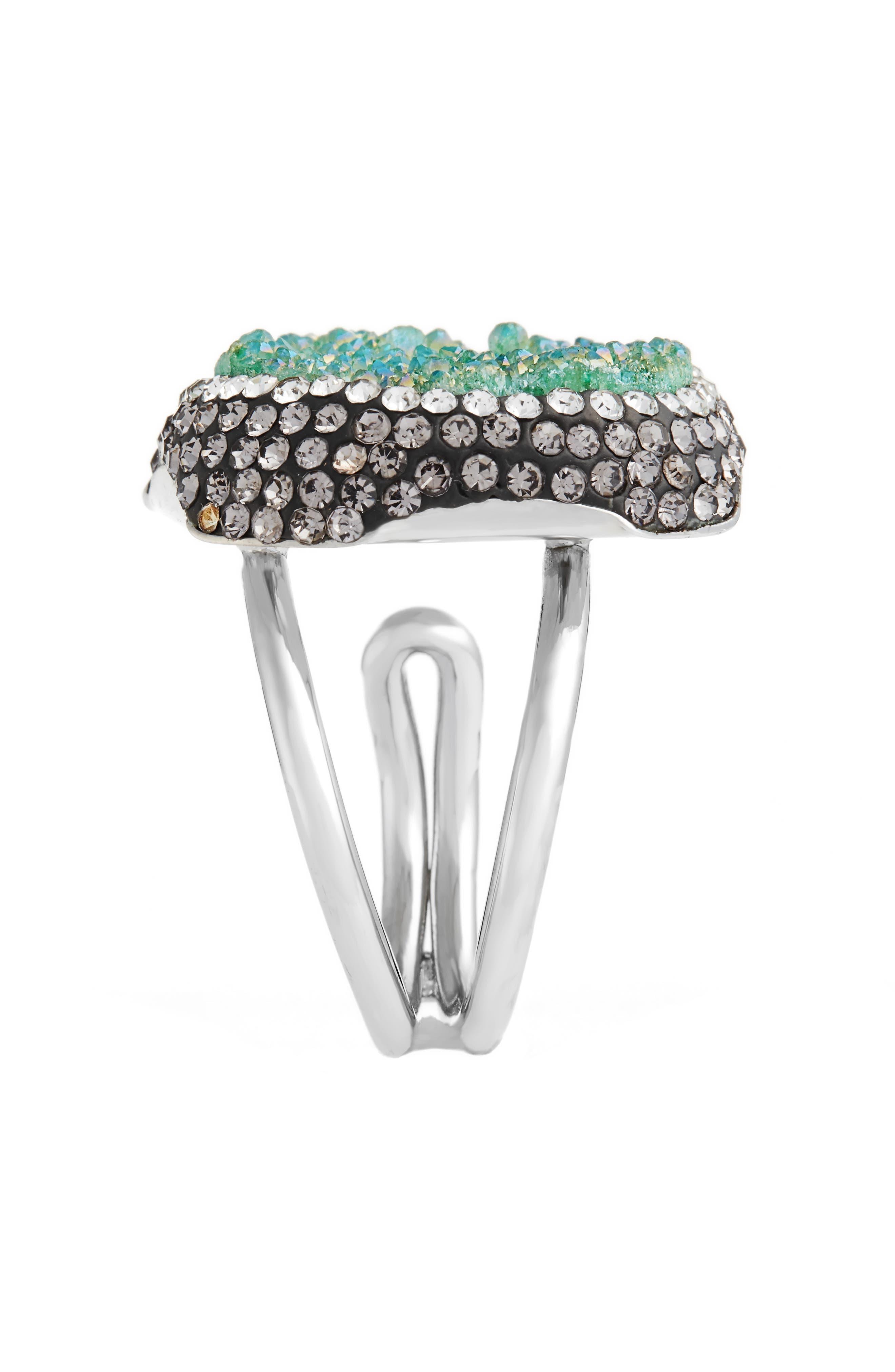 Goddess Drusy & Crystal Ring,                             Alternate thumbnail 2, color,                             Emerald