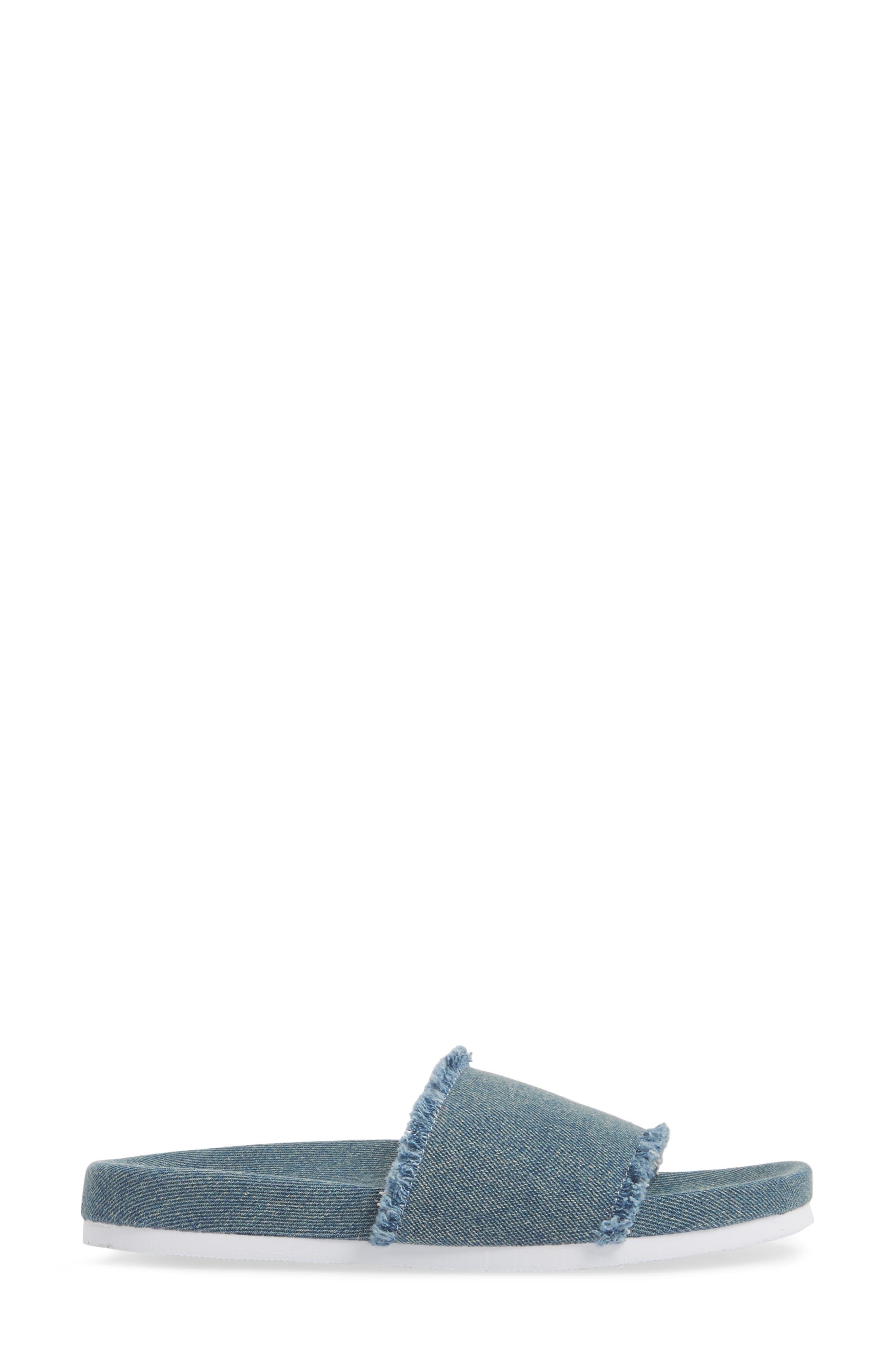 Kelsey Frayed Edge Slide Sandal,                             Alternate thumbnail 3, color,                             Denim