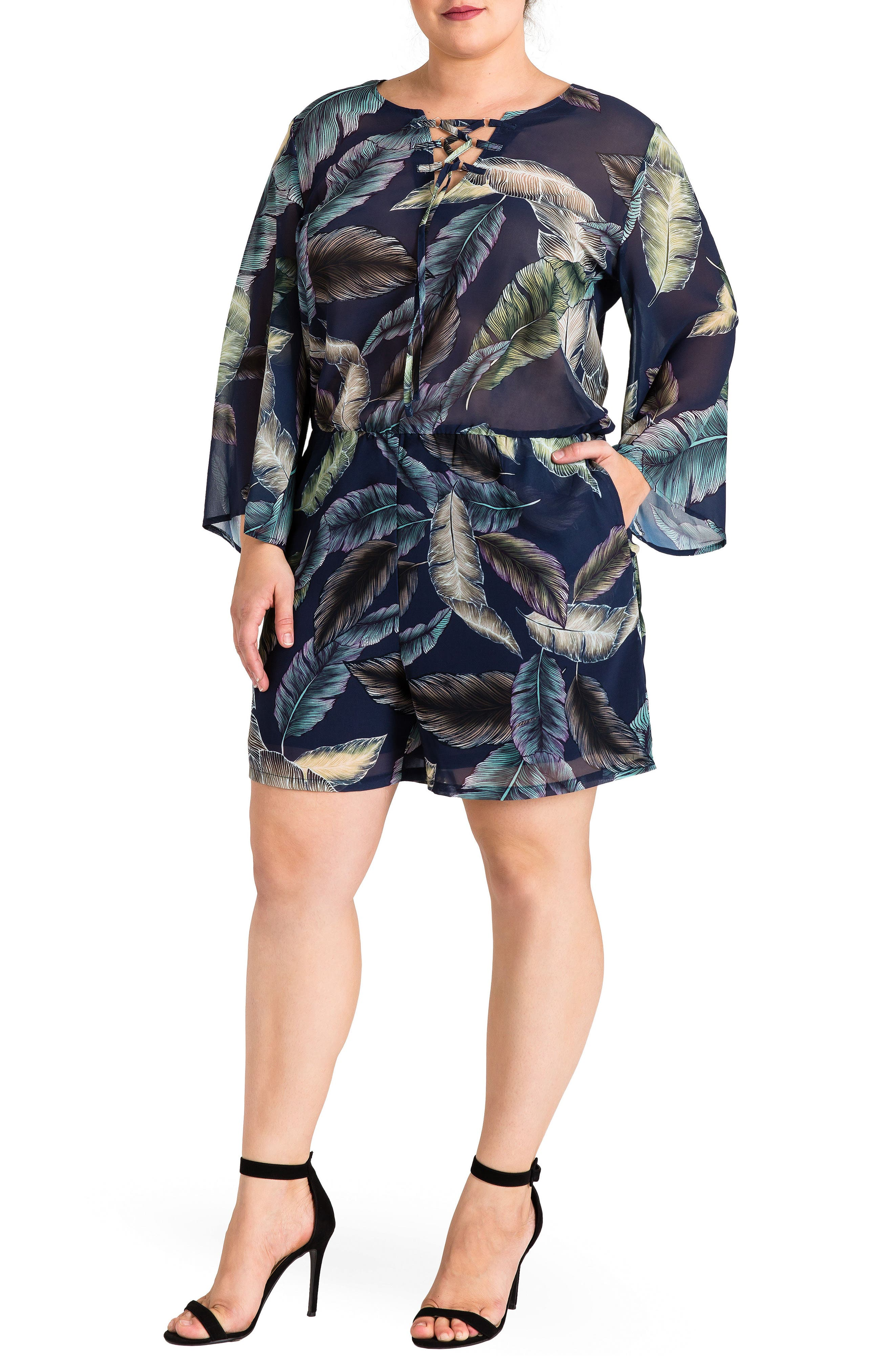 Standards & Practices Print Bell Sleeve Romper (Plus Size)