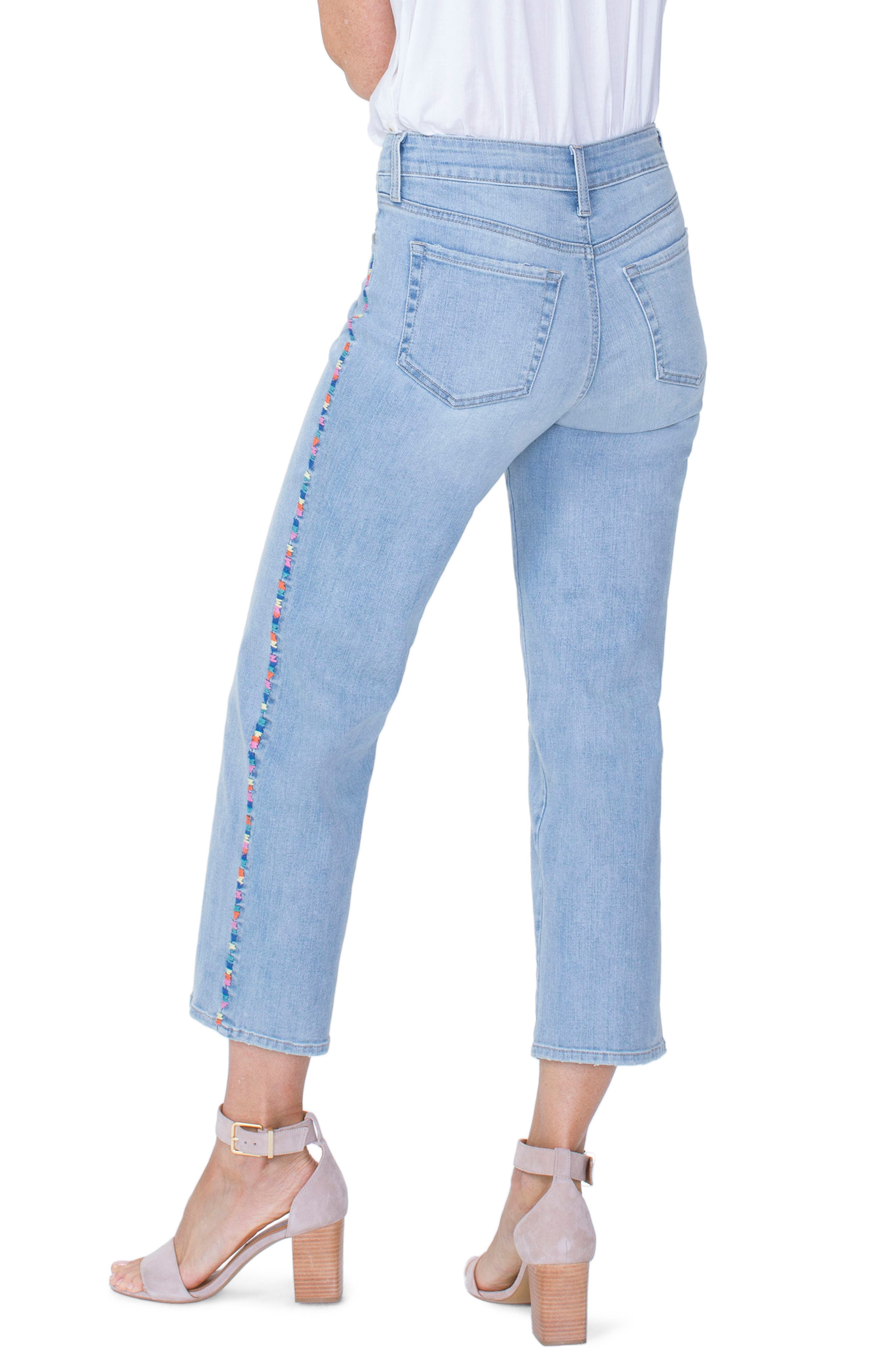 Jenna Embroidered Seam Ankle Straight Leg Jeans,                             Alternate thumbnail 2, color,                             Clean Cloud Nine
