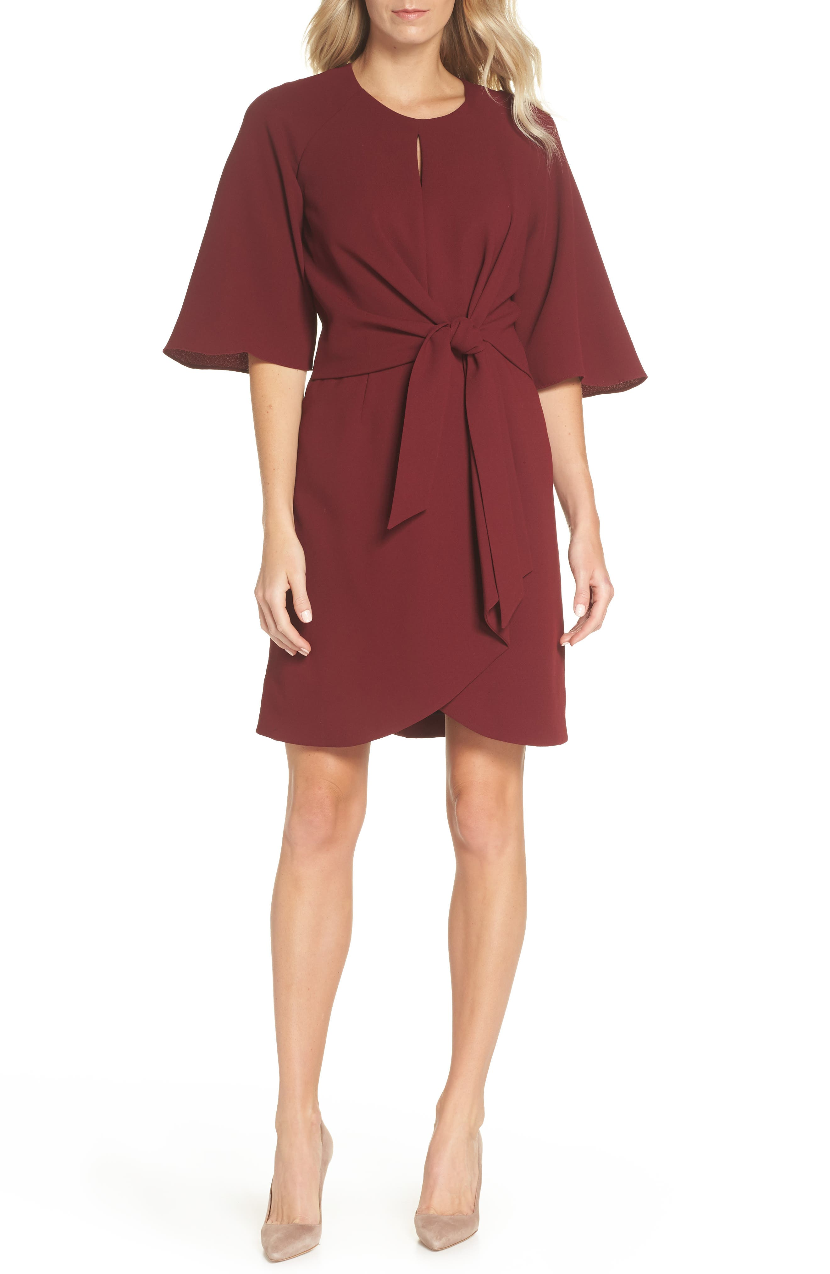 Tie Front Crepe Dress, Main, color, Brick Red