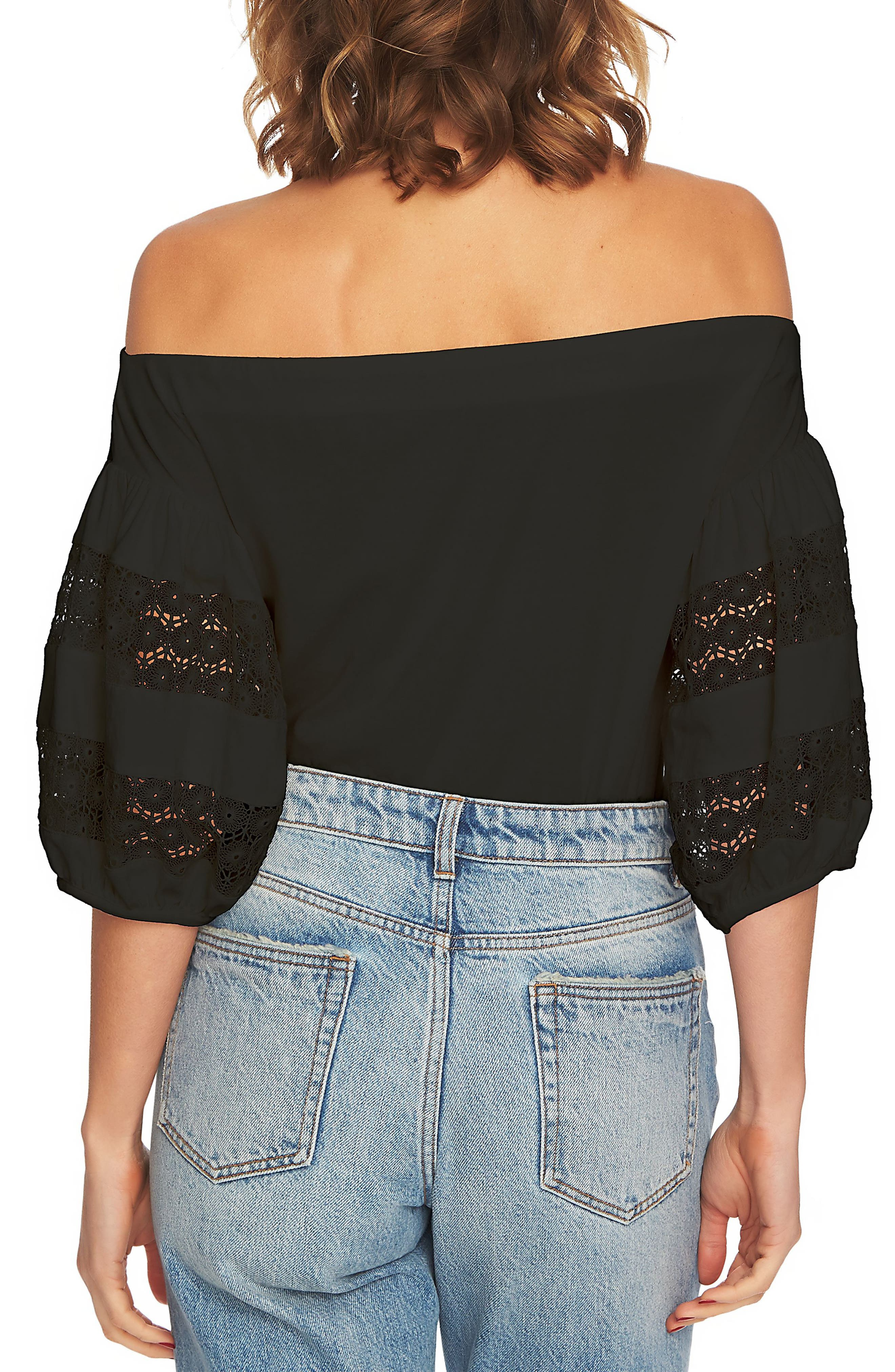 Off the Shoulder Knit Top,                             Alternate thumbnail 2, color,                             Rich Black