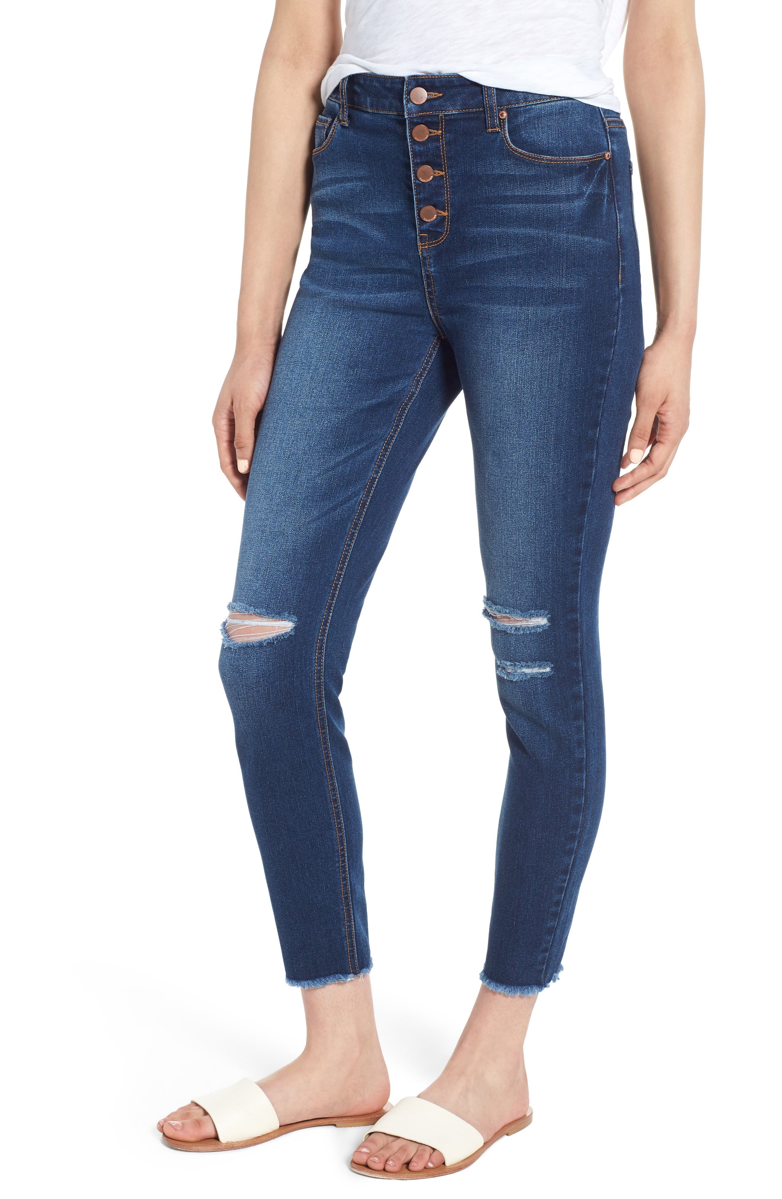 Ripped High Waist Ankle Skinny Jeans,                             Main thumbnail 1, color,                             Dark Wash