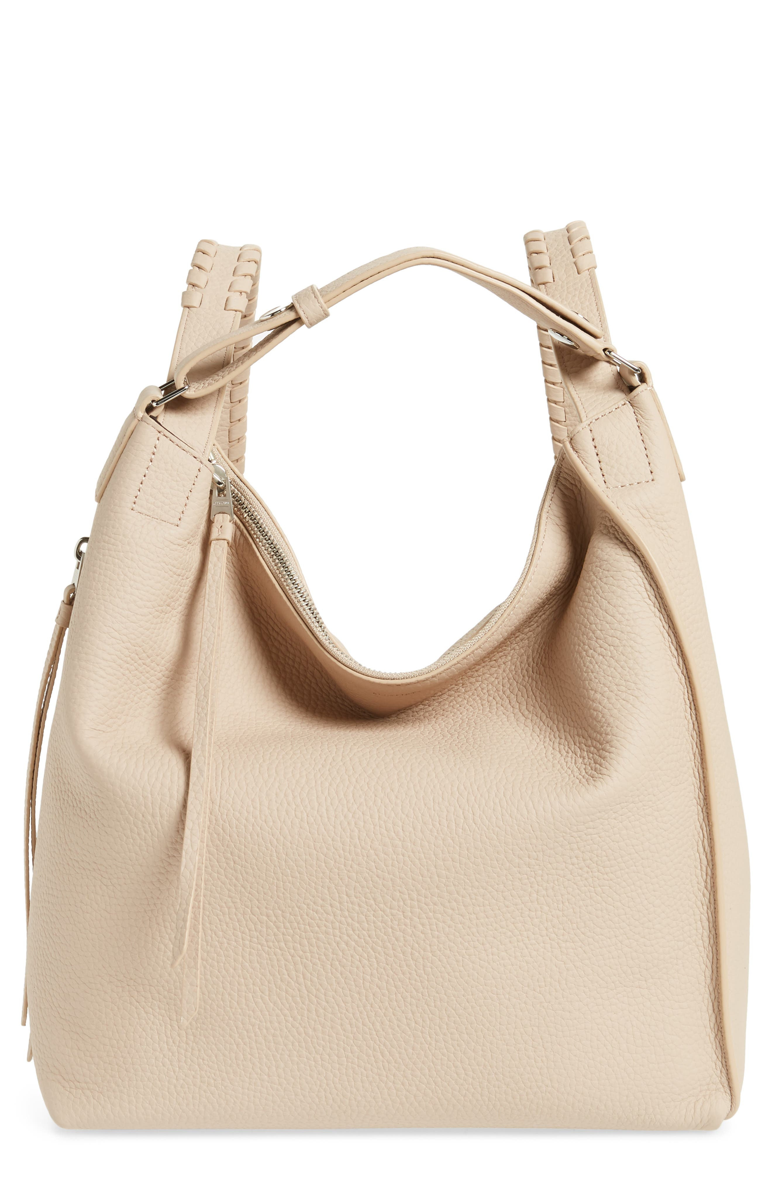 SMALL KITA CONVERTIBLE LEATHER BACKPACK - BEIGE