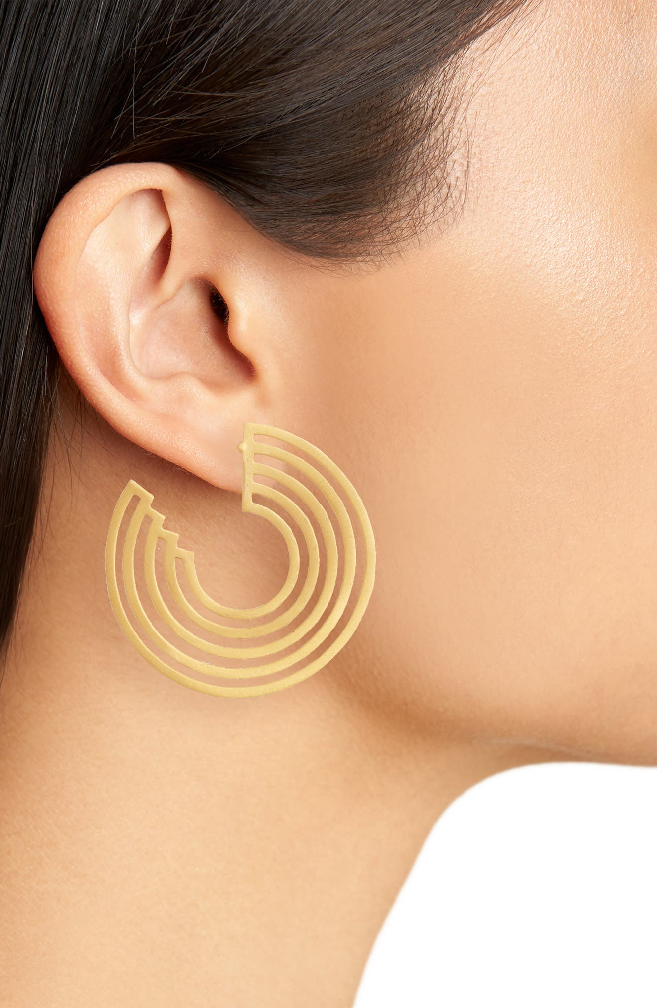 Solar Concentric Hoop Earrings,                             Alternate thumbnail 2, color,                             Gold