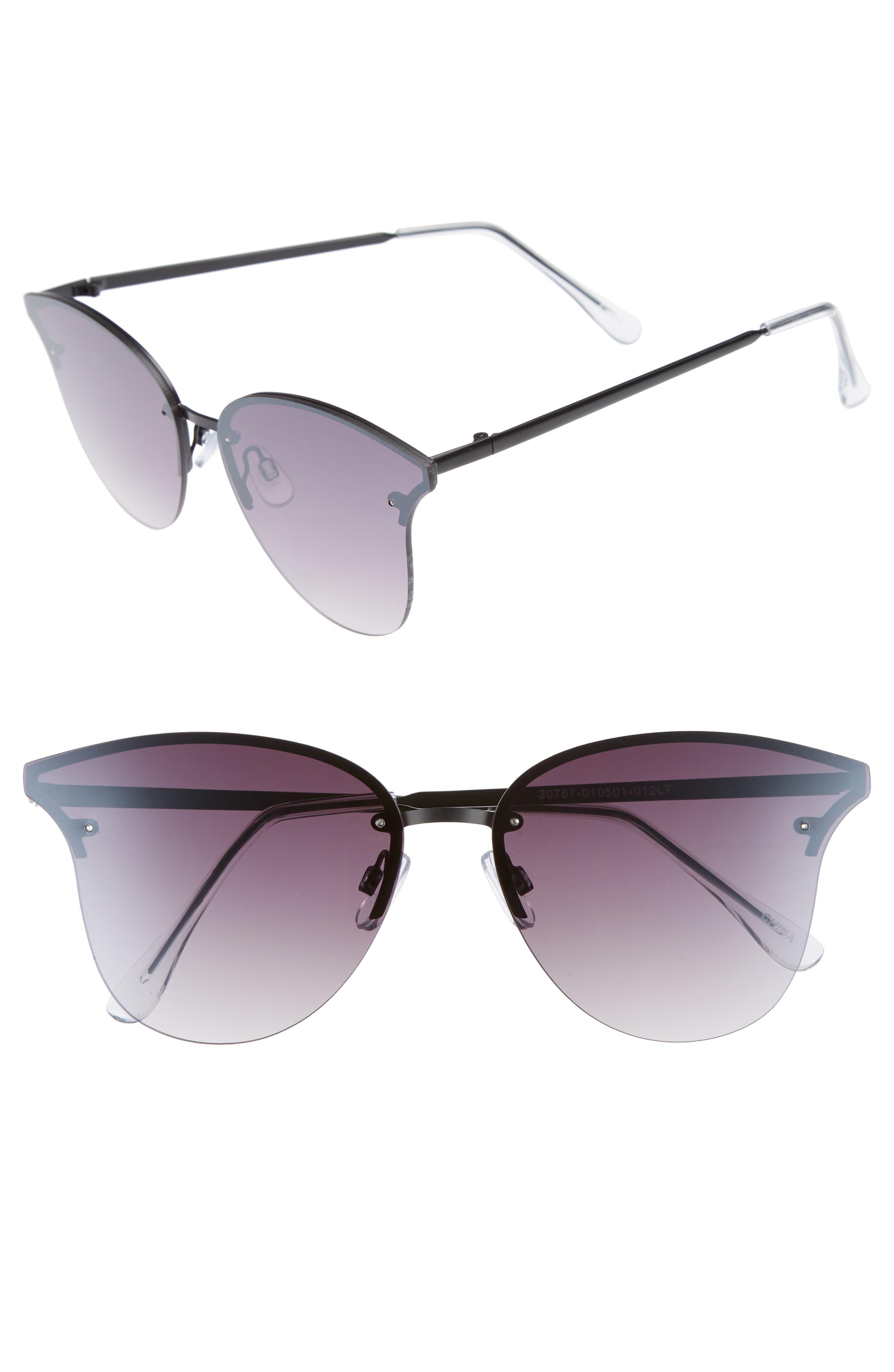 61mm Rimless Cat Eye Sunglasses,                         Main,                         color, Black/ Black
