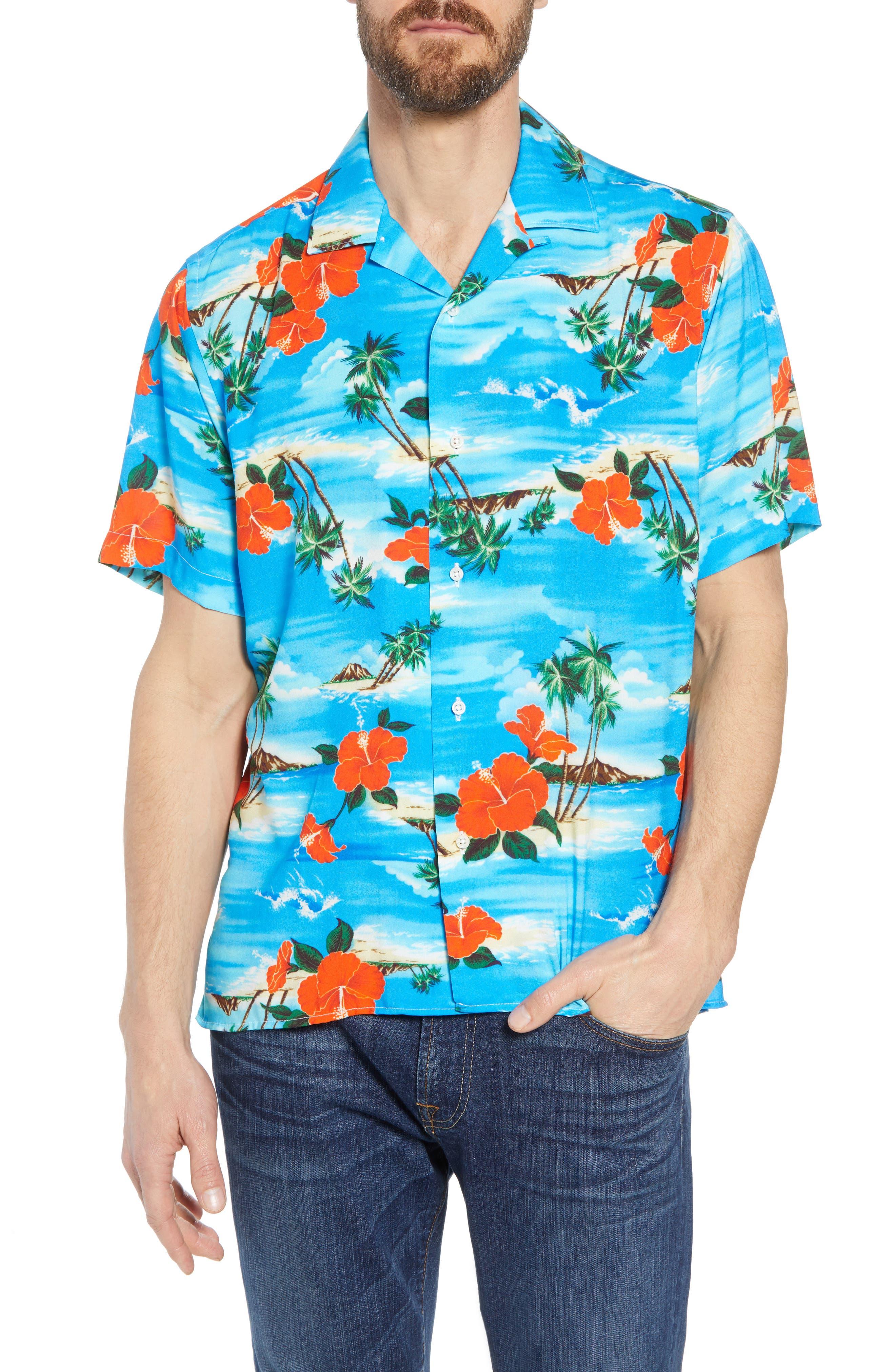 Regular Fit Print Camp Shirt,                         Main,                         color, Blue Aloha