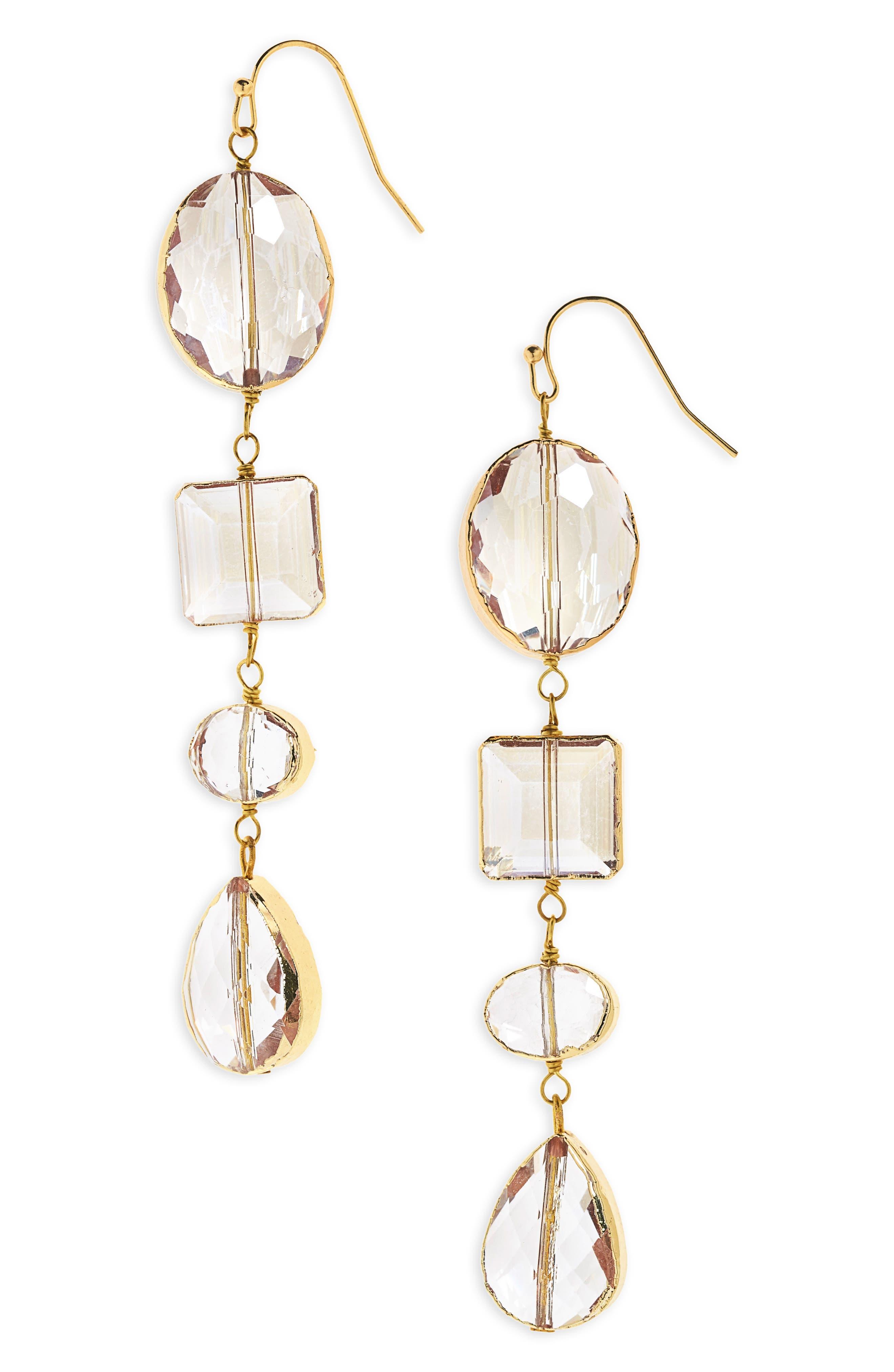 Crystal Linear Earrings,                         Main,                         color, Clear